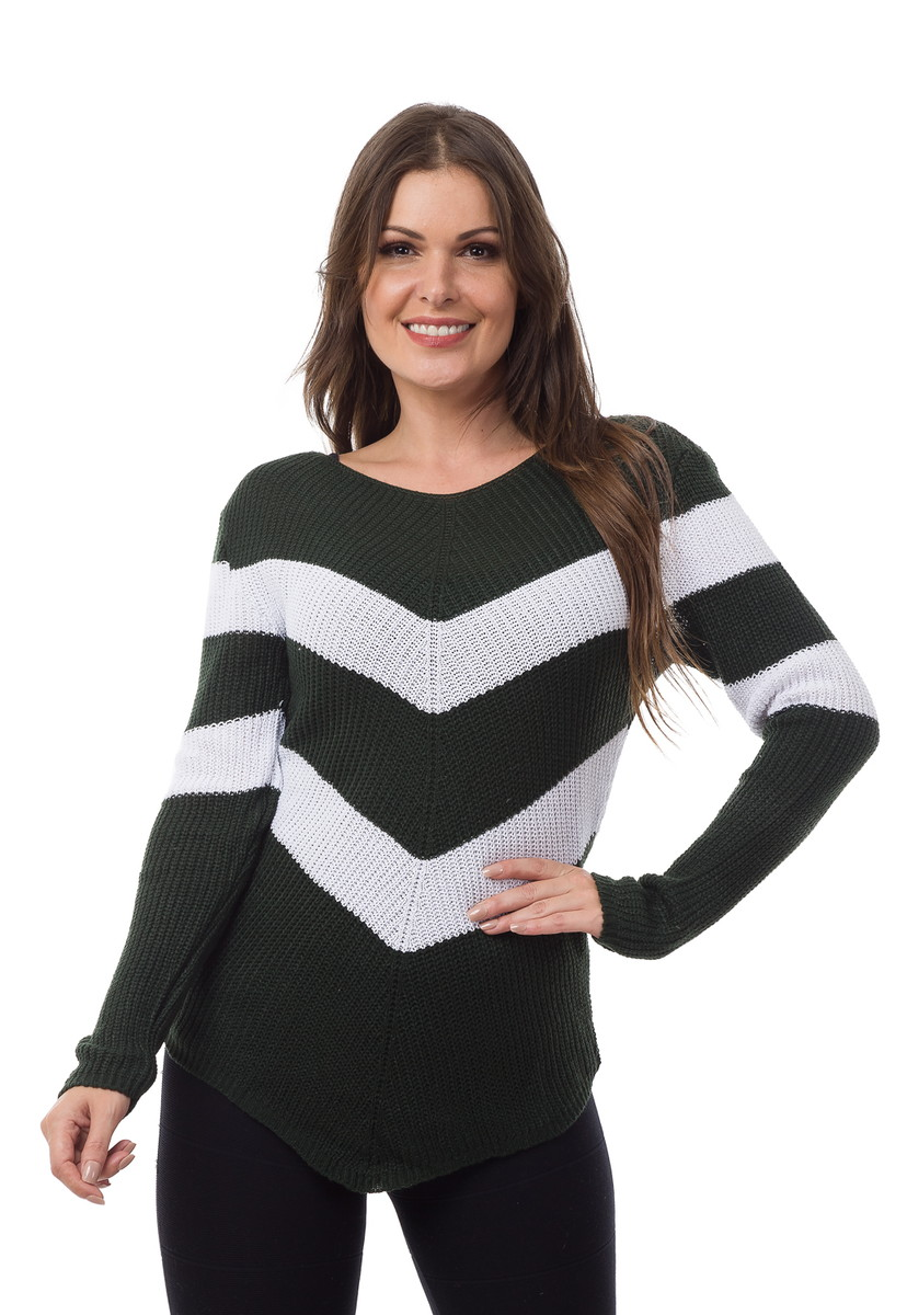 8e0c191fa6 Blusa Feminina Tricot Tricô Listrada em V Verde Branco 04858 no Elo7 ...