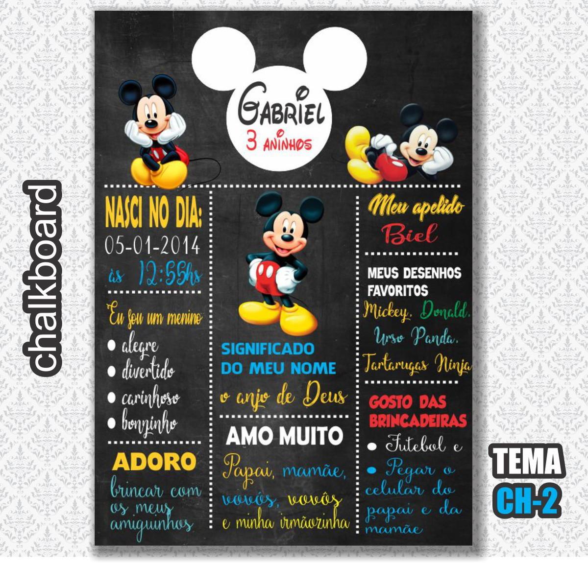 490e1e09282 Chalkboard Digital - Tema Mickey - FRETE GRÁTIS no Elo7