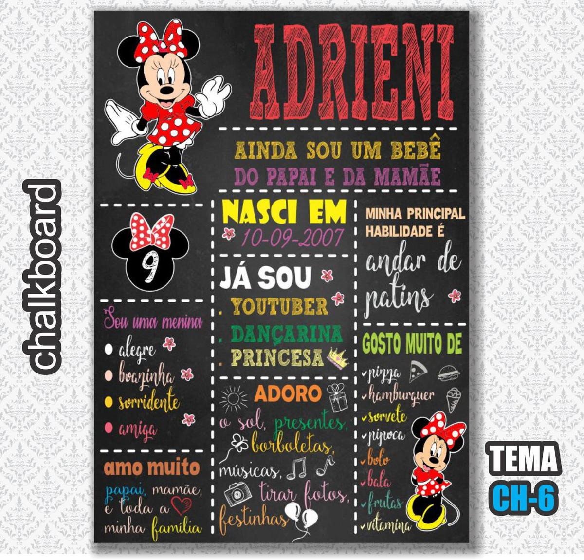 73b02dca6bf Chalkboard Digital - Tema Minnie Vermelha - FRETE GRÁTIS no Elo7 ...