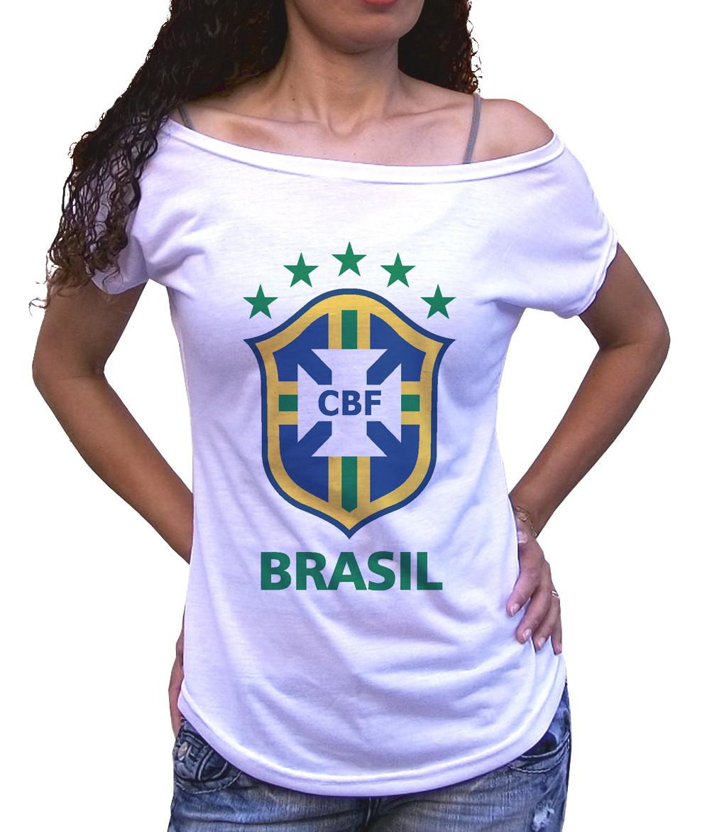 a63909c13 Camiseta Gola canoa Feminina escudo CBF Copa do mundo 2018 no Elo7 ...