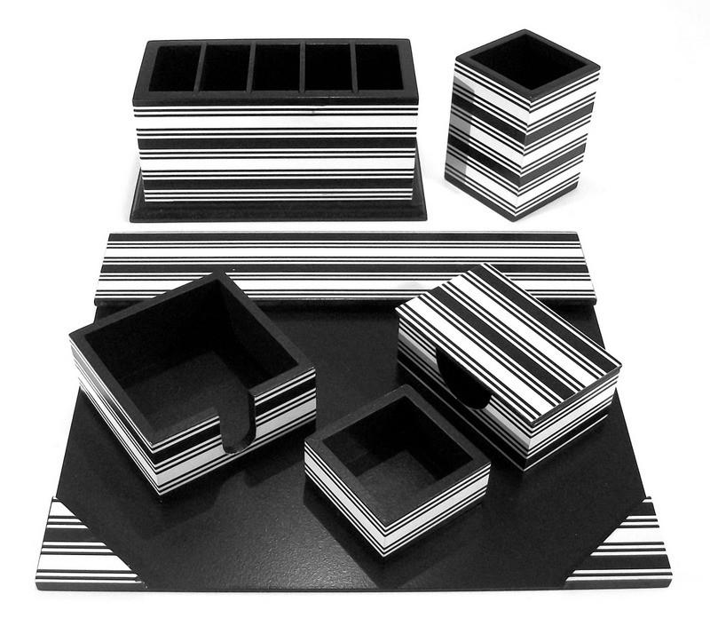 Organizador de mesa com 6 peças listrado preto e branco no Elo7 ... da7ab0dc15001