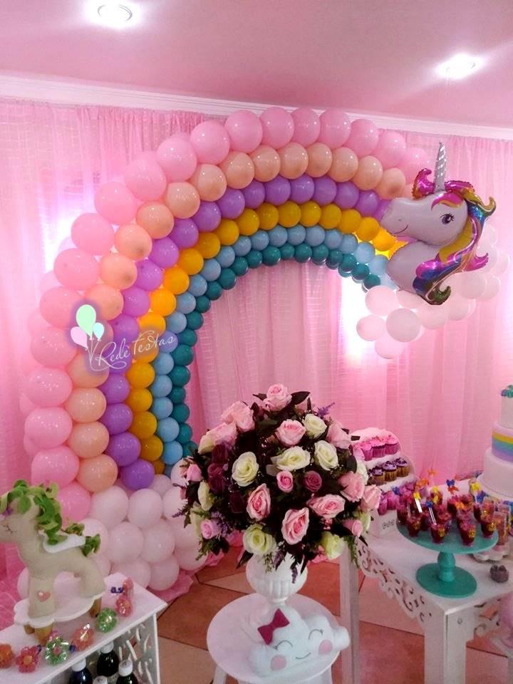 Arco u00cdris de balões no Elo7 Rede Festas Decorações (BC7945) # Decoracao De Balao Unicornio