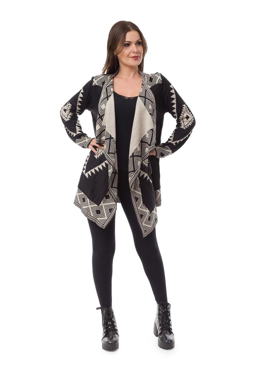 12d8ce1a10ff88 Kimono Feminino Tricot Bico Geométrico Preto/Bege 04890