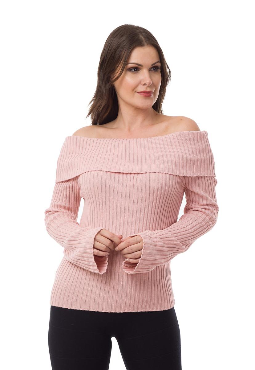 7104a3c8a Blusa Feminina Tricot Canelada Ombro a Ombro Rosa 04831 no Elo7 ...