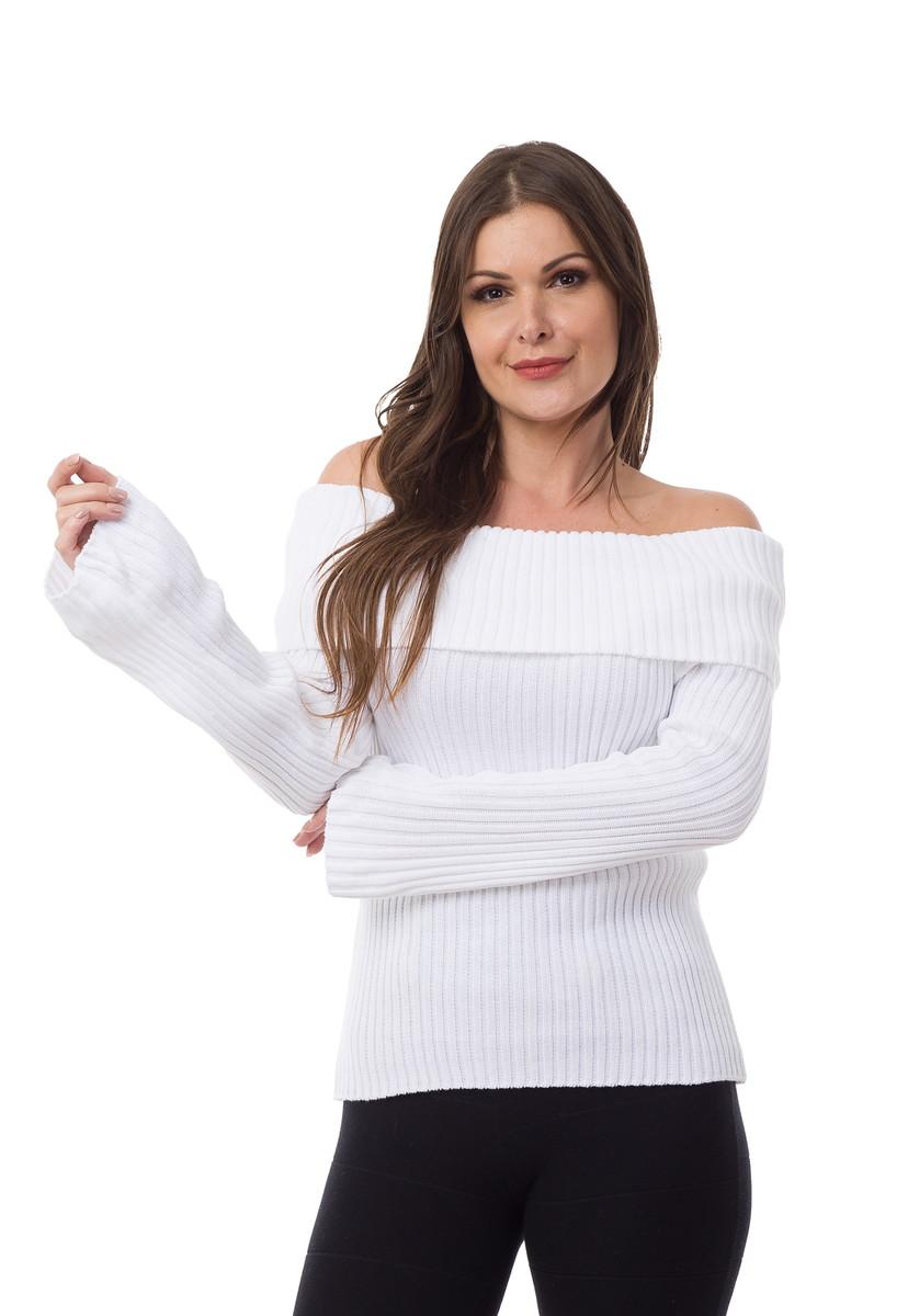 41f2ca3e15 Blusa Feminino Tricot Canelado Ombro a Ombro Branco 04831 no Elo7 ...