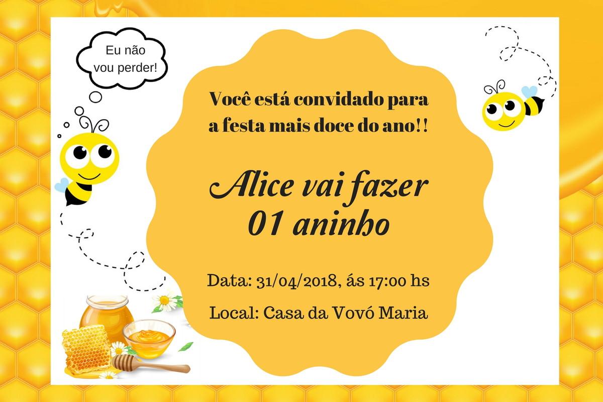 Convite Digital Abelhinha Arquivo Digital No Elo7 Studio Arte