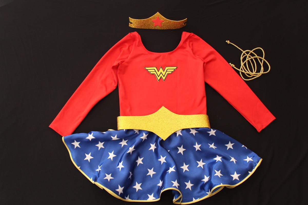 84ced55a8 fantasia mulher maravilha vestido manga longa infantil no Elo7 ...