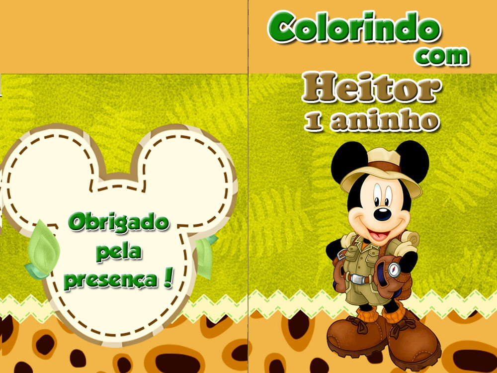 Revista Colorir Mickey Safari 14x10 No Elo7 Tudo De Festa Galvao