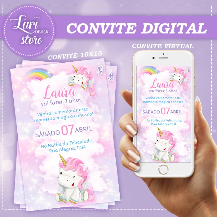 Convite Virtual Unicórnio 01 No Elo7 Lari Design Bd0210