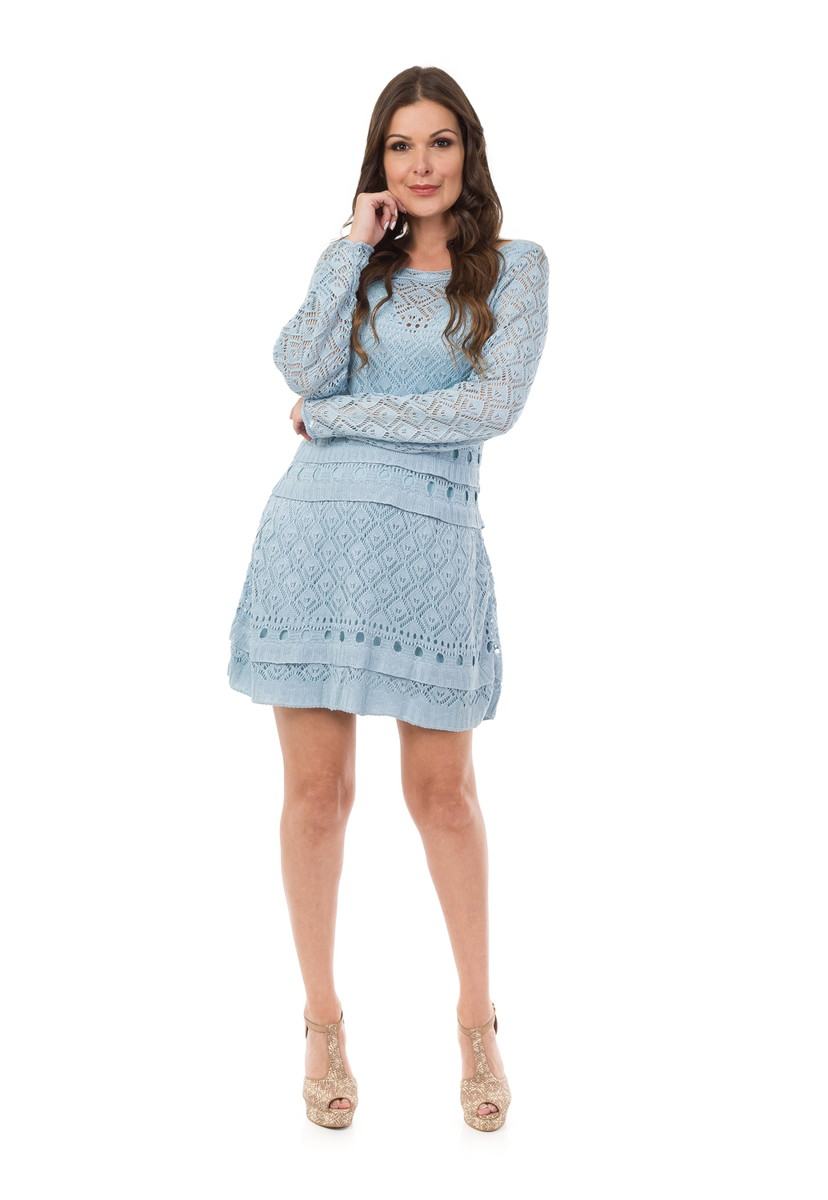 fe3d80402 Vestido Curto Feminino Tricot com Babado Azul Claro 05006 no Elo7 ...