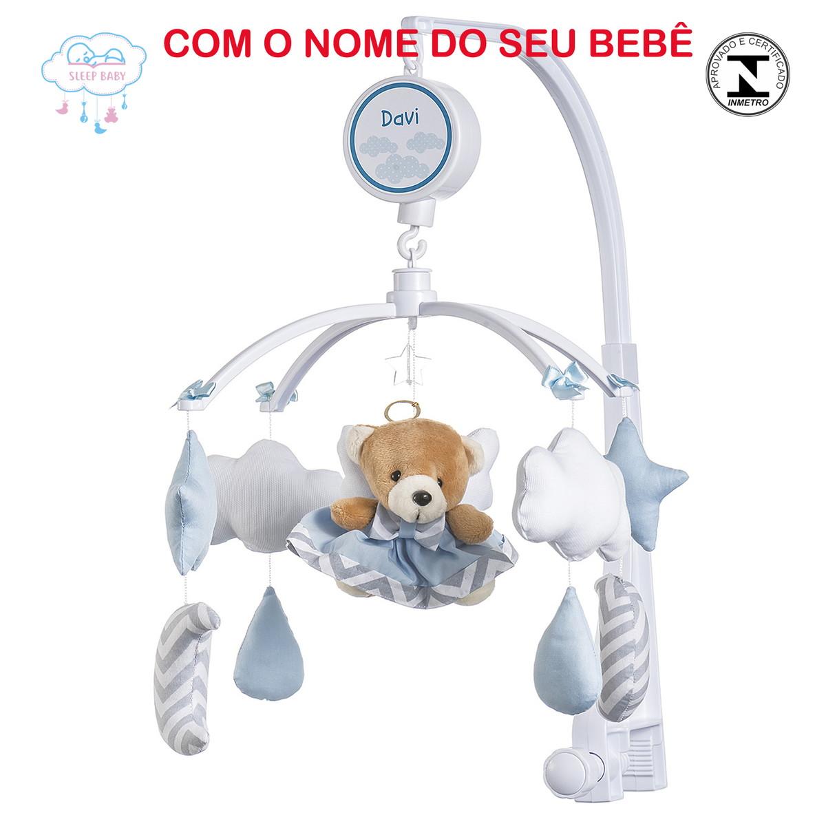 cebaf2d055 Móbile de berço Musical Ursinho Anjinho nas Nuvens Menino no Elo7 ...