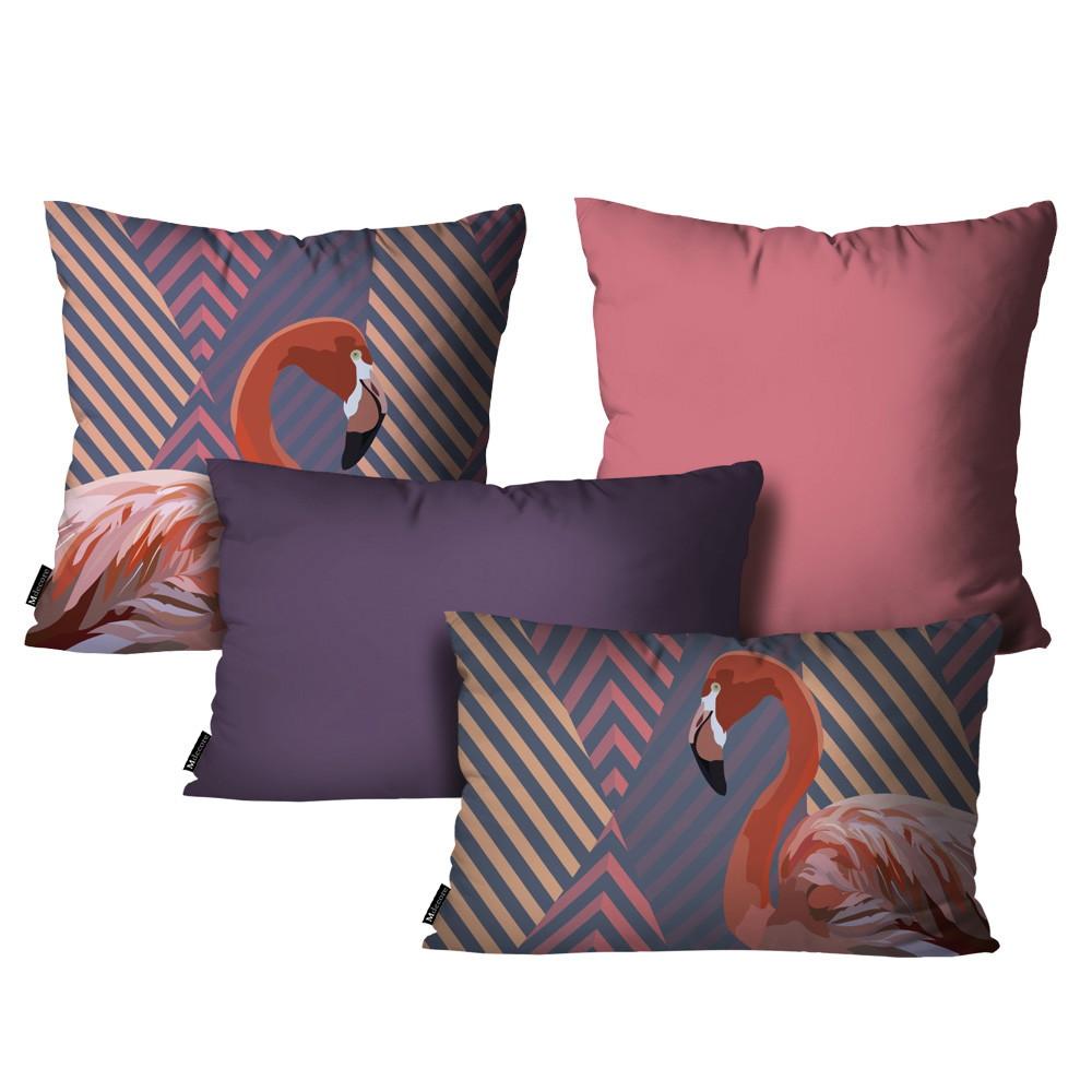 814e2f4ee9e590 Kit com 4 Almofadas Flamingo Roxo