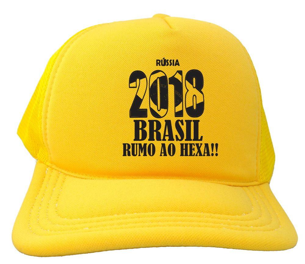 30ee388b9e Boné Trucker todo amarelo Russia 2018 Brasil copa BN241 no Elo7 ...