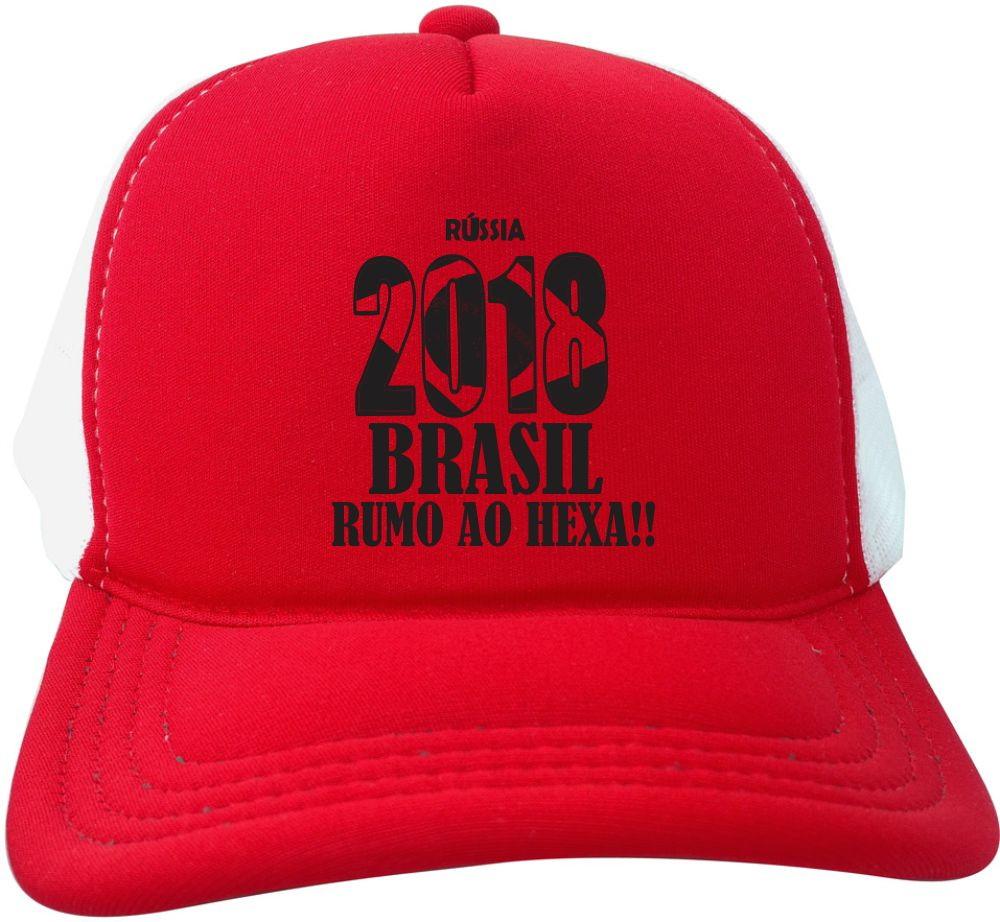 a599ebfa84 Boné Trucker vermelho branco Russia 2018 Brasil copa BN241 no Elo7 ...