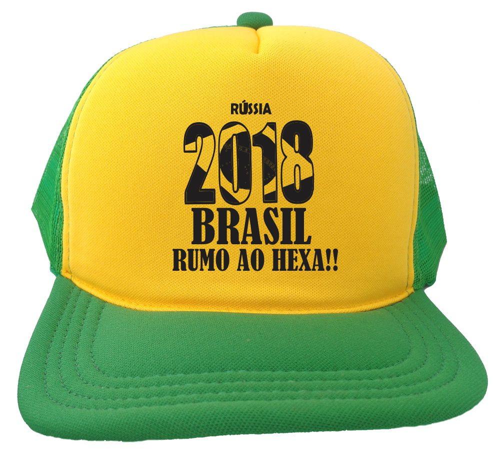 8c49731e66 Boné Trucker verde e amarelo Russia 2018 brasil copa BN241 no Elo7 ...