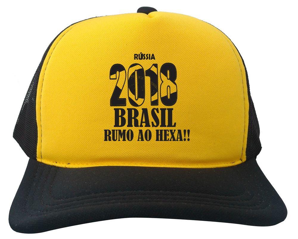 ee0875f268 Boné Trucker amarelo e preto Russia 2018 brasil copa BN241 no Elo7 ...