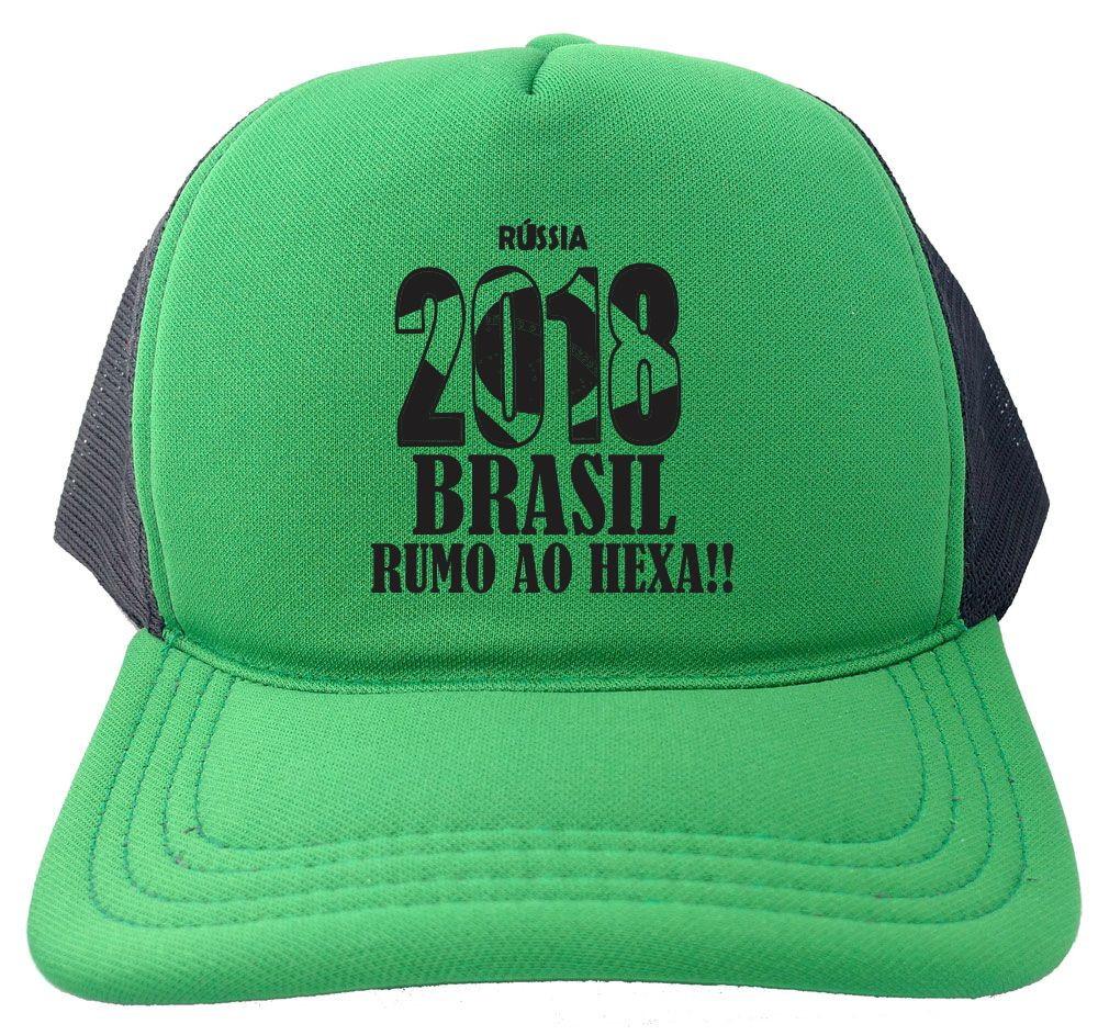 a1c435e721 Boné Trucker verde e preto Russia 2018 Brasil copa BN241 no Elo7 ...