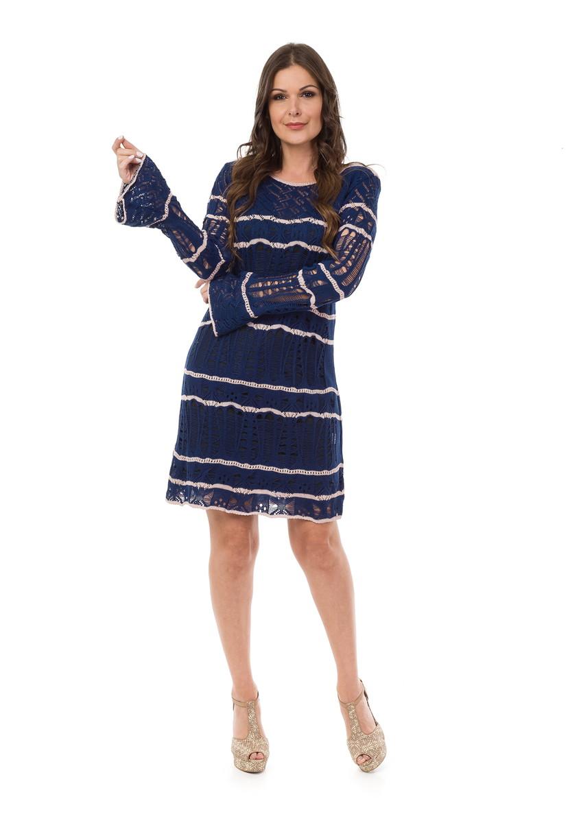 67f3444e73 Vestido Curto Feminino Tricot Ondas Azul Marinho 04876 no Elo7 ...