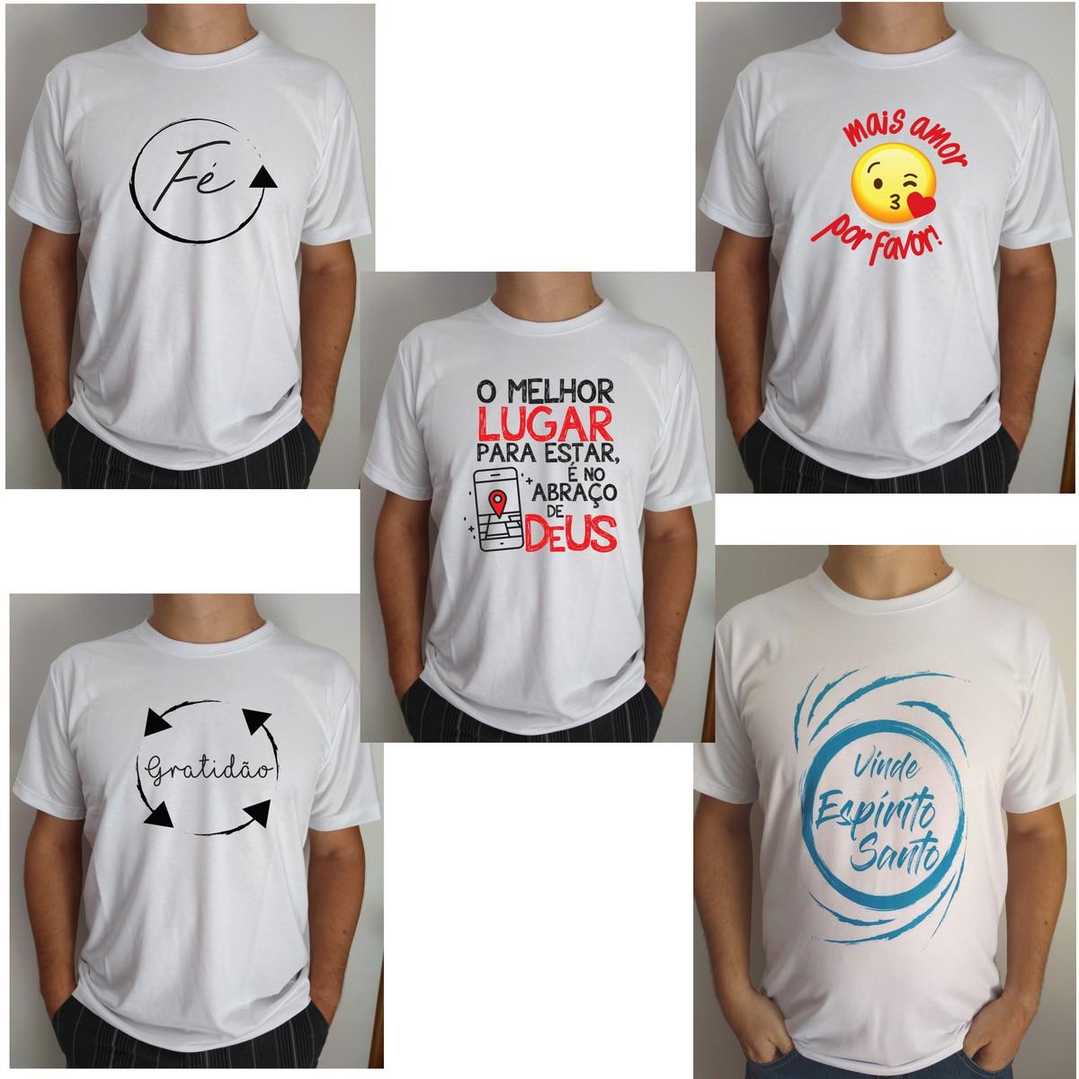 f309eea793 Kit 5 Camisetas Fé Gratidão Amor Gospel Atacado no Elo7