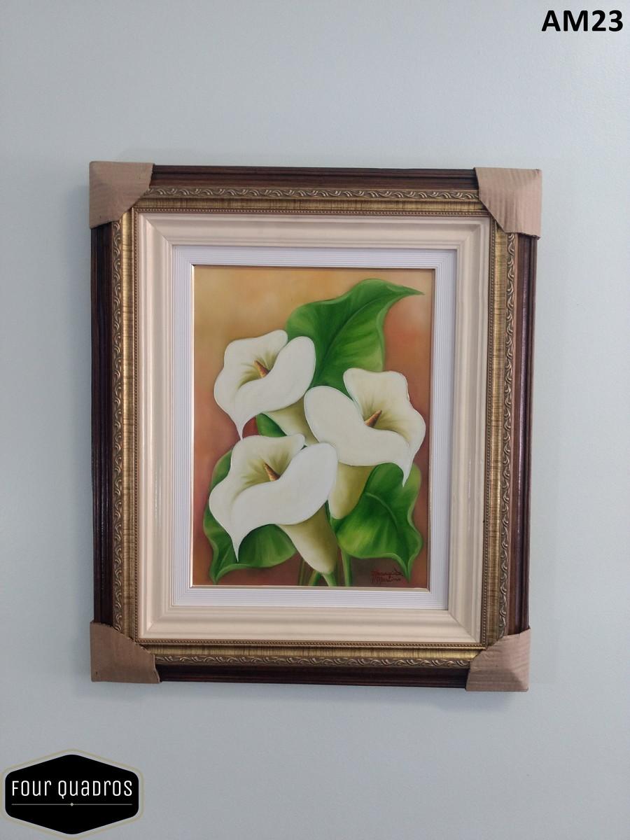 Quadro Pintura Tinta óleo Moldura Flores Copo De Leite 55x65