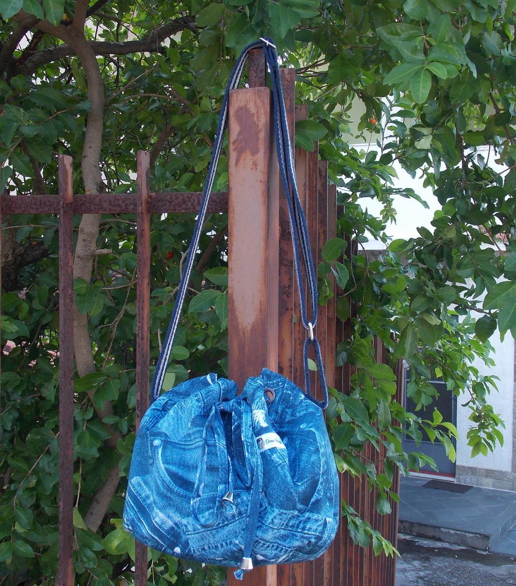Bolsa Saco Jeans - Bucket Bag (alça azul) no Elo7  a3f11944511