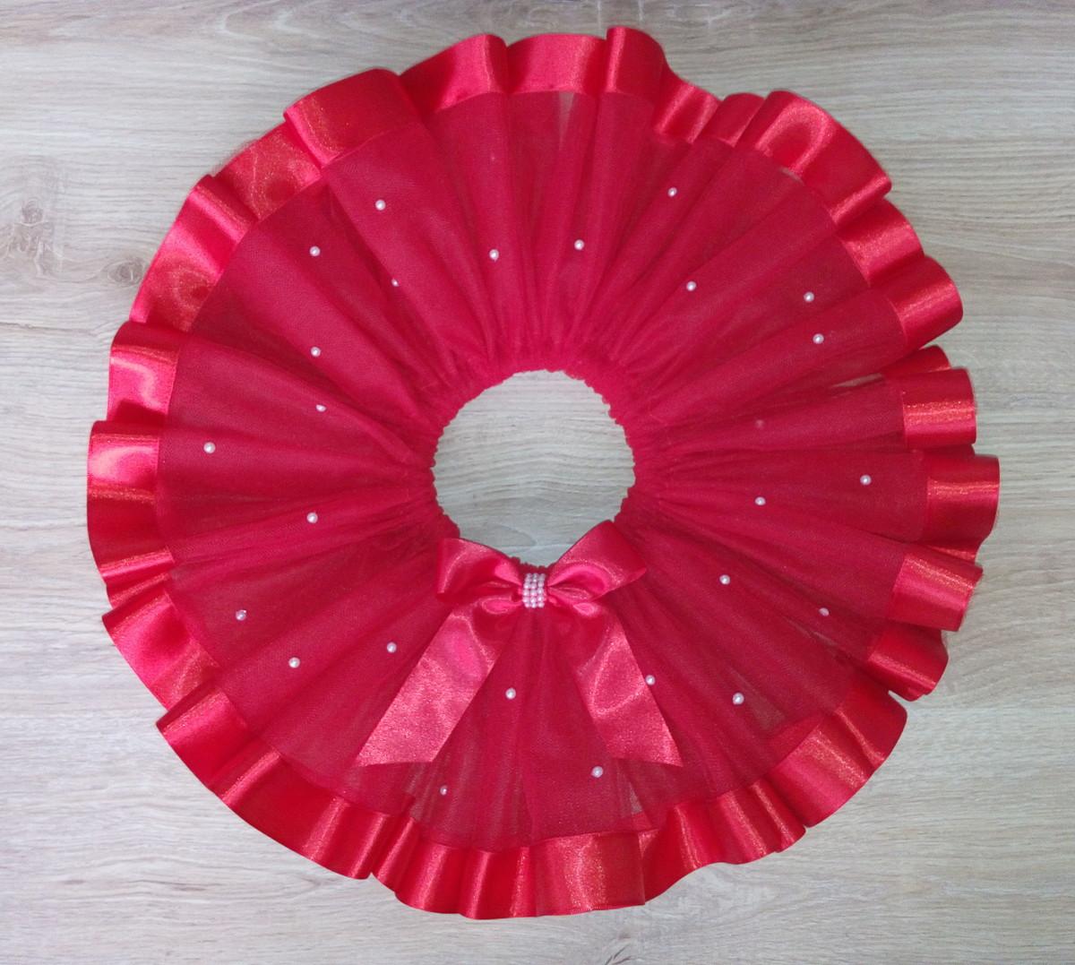 9e183ecb25 Saia tutu vermelha com fita de cetim e pérolas no Elo7