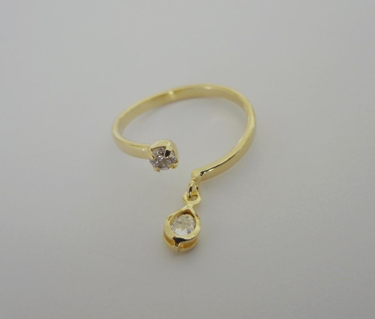 Anel Folheado a ouro - Dedo Pé - Pingente Gotinha Cristal no Elo7 ... 15e9ac0581