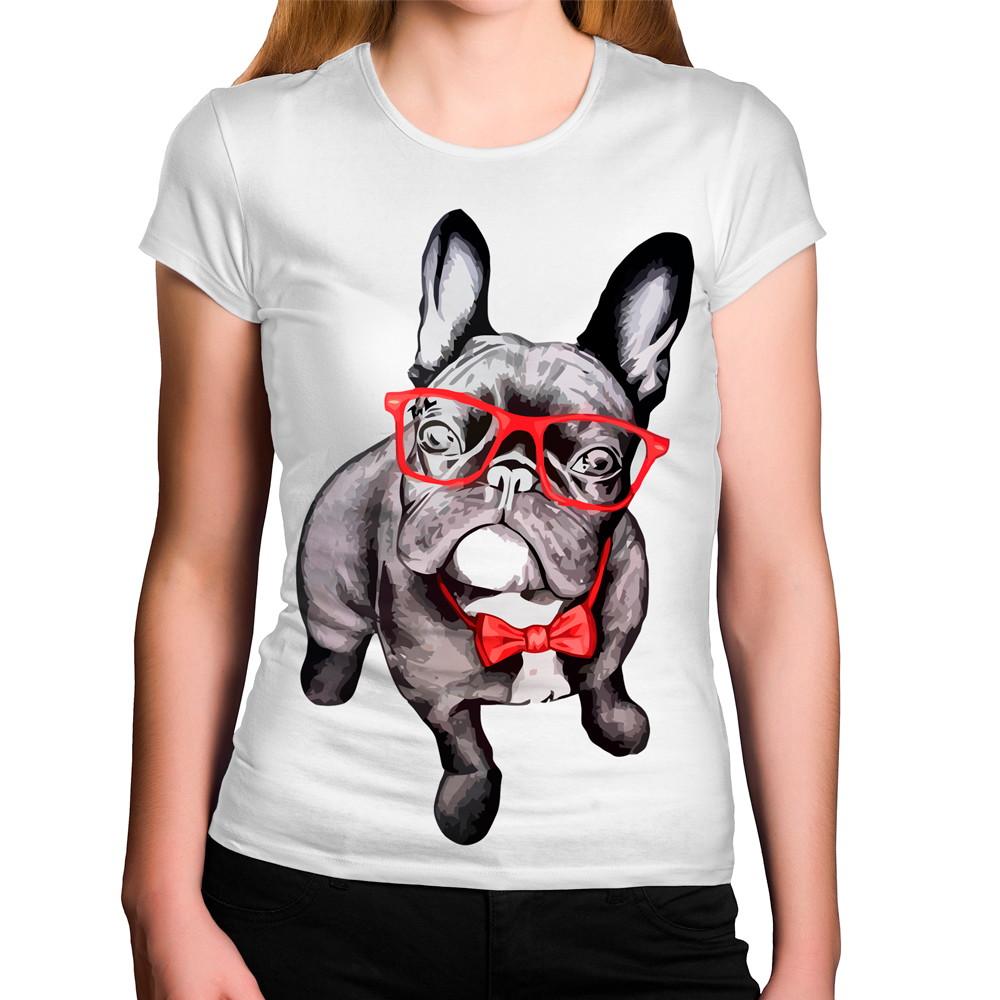 Camiseta Feminina Cachorro Estiloso Óculos Gravata Vermelha no Elo7 ... ae91d831ca