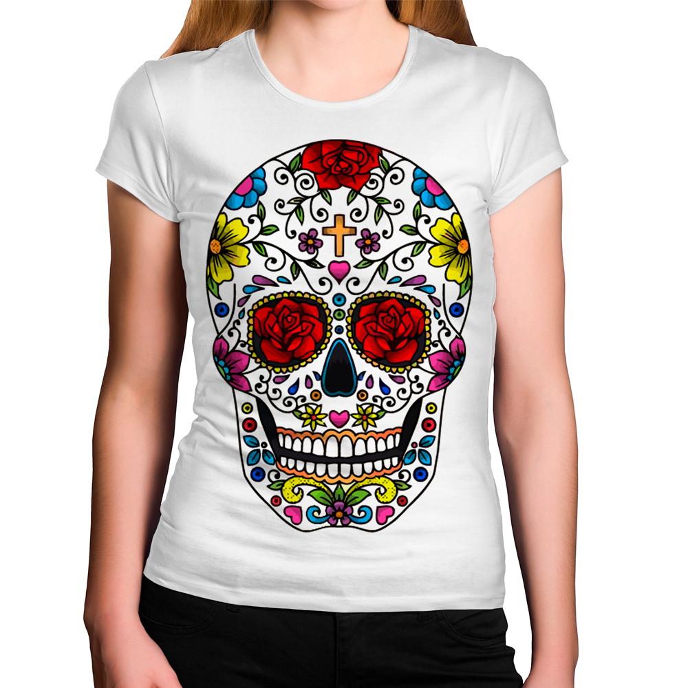 9817ca15f Camiseta Feminina Caveira Mexicana com Olhos de Flores no Elo7 ...