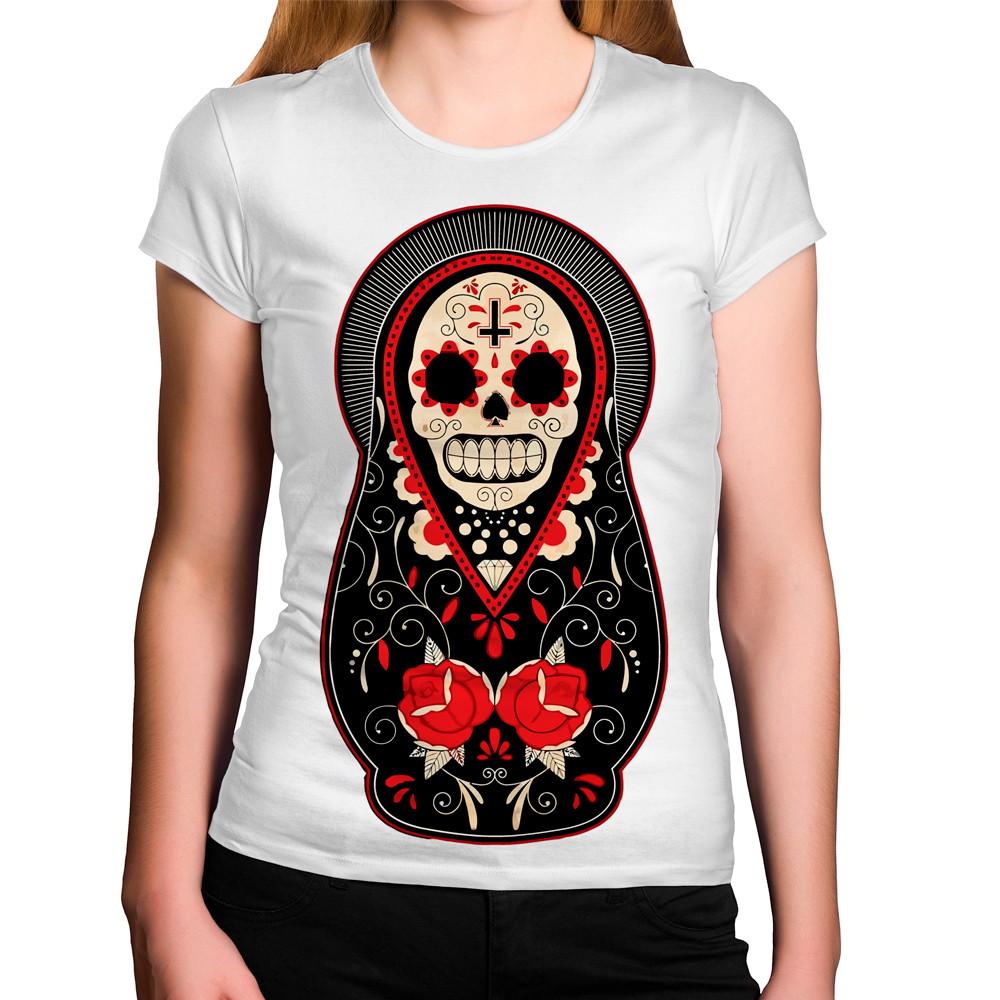 2d92ba406 Camiseta Feminina Caveira Mexicana da Morte no Elo7
