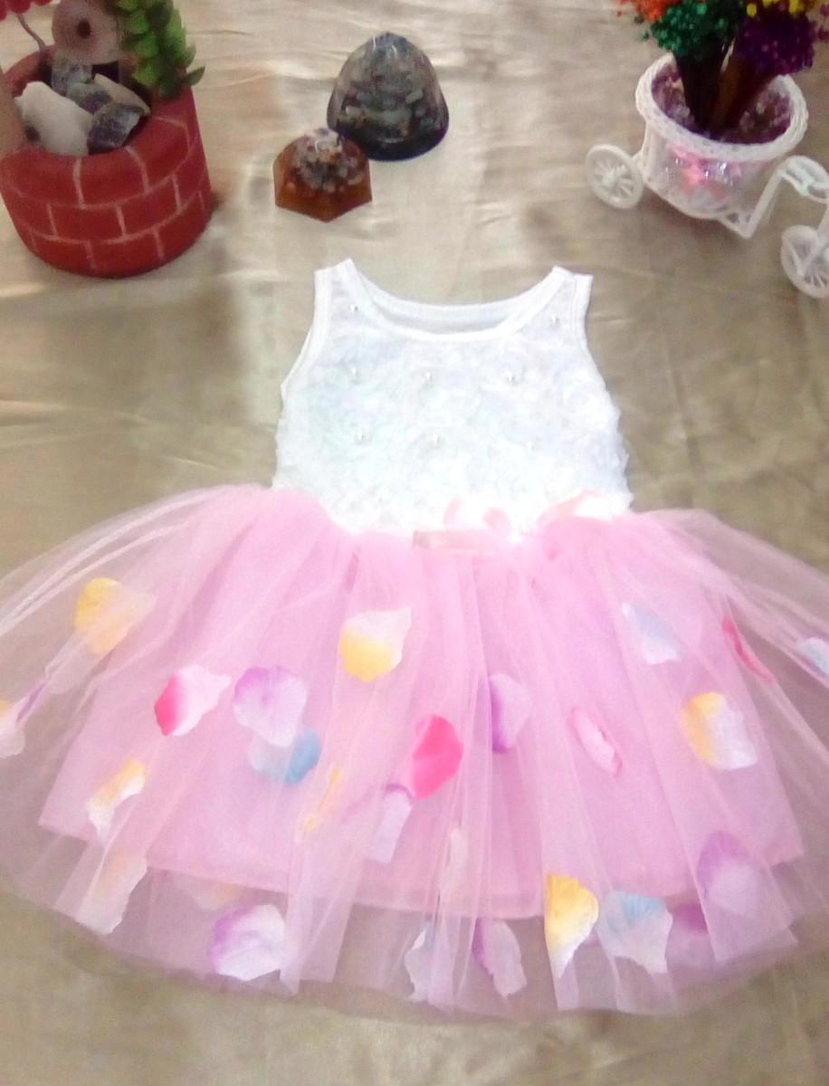 30fdc98794ac81 Vestido Infantil Algodão com Renda Saia Tule Rosa 2-3 anos