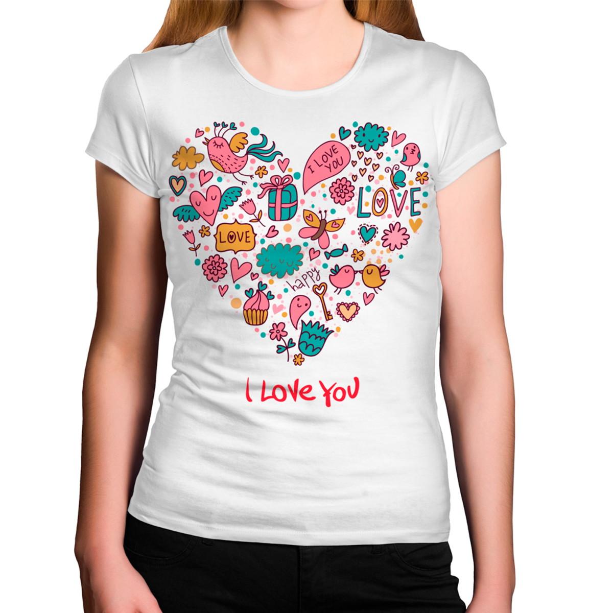Camiseta Feminina Eu Amo Você no Elo7  b98d94140f495