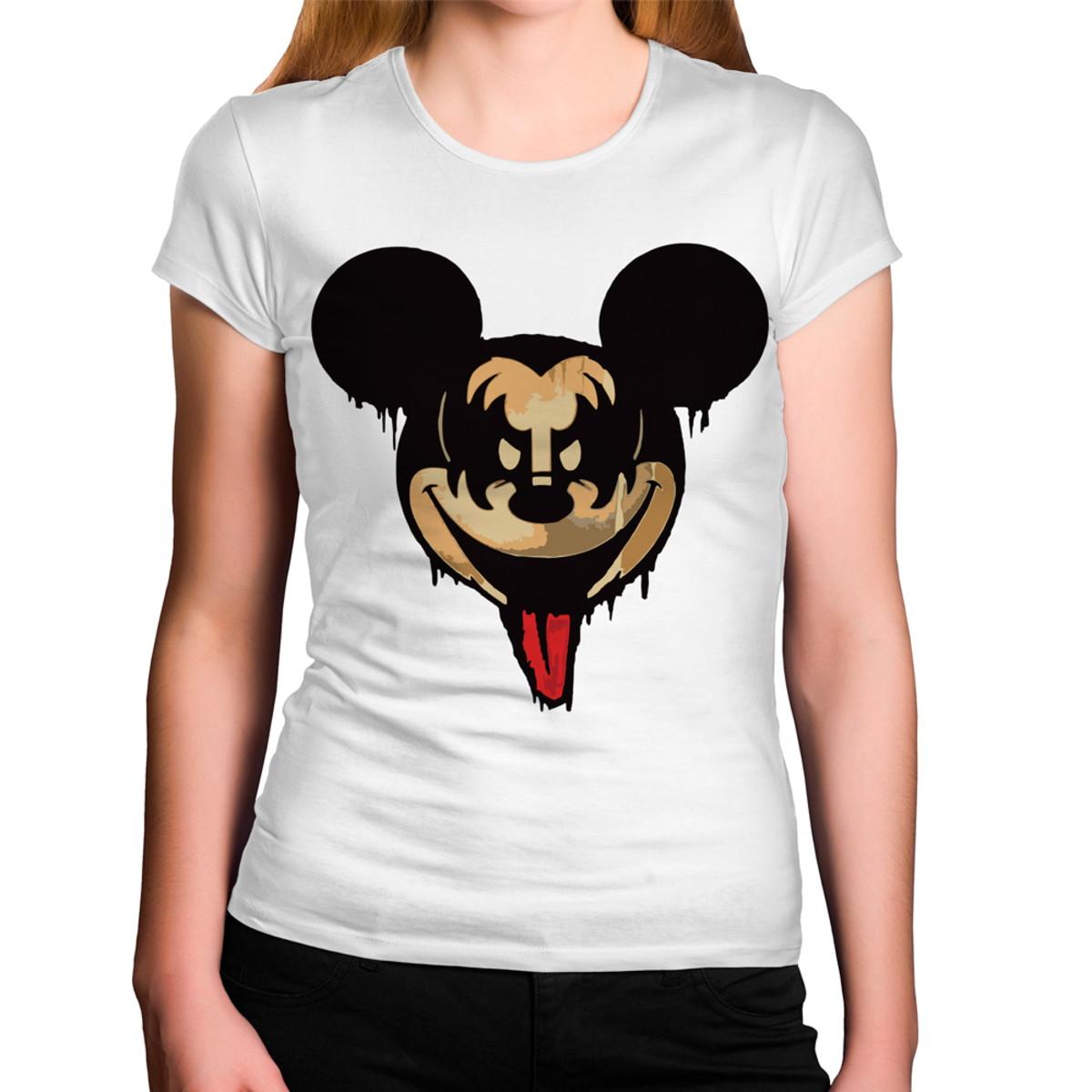 fe0cfe01d Camiseta Feminina Mickey Kiss Banda de Rock no Elo7