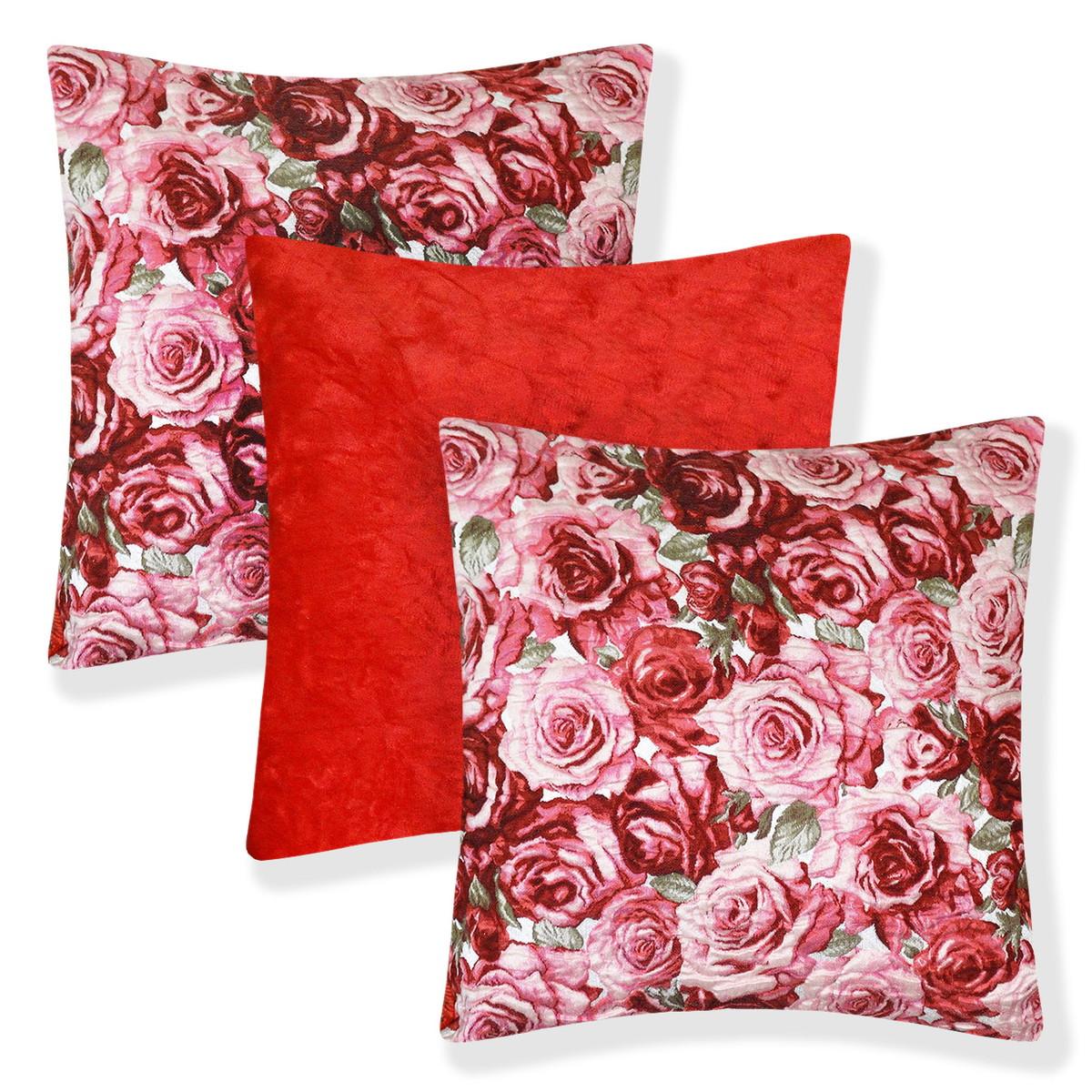 f210bb2b0d23f7 3 Almofadas Rosas Relevo Lisa Vermelha c/ Enchimentos Fibra