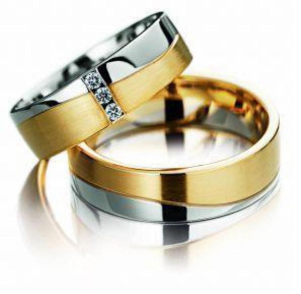 8e060ae9d0527 Aliança de Ouro 18k Branco Amarelo Bodas e Diamante - (Par) no Elo7 ...