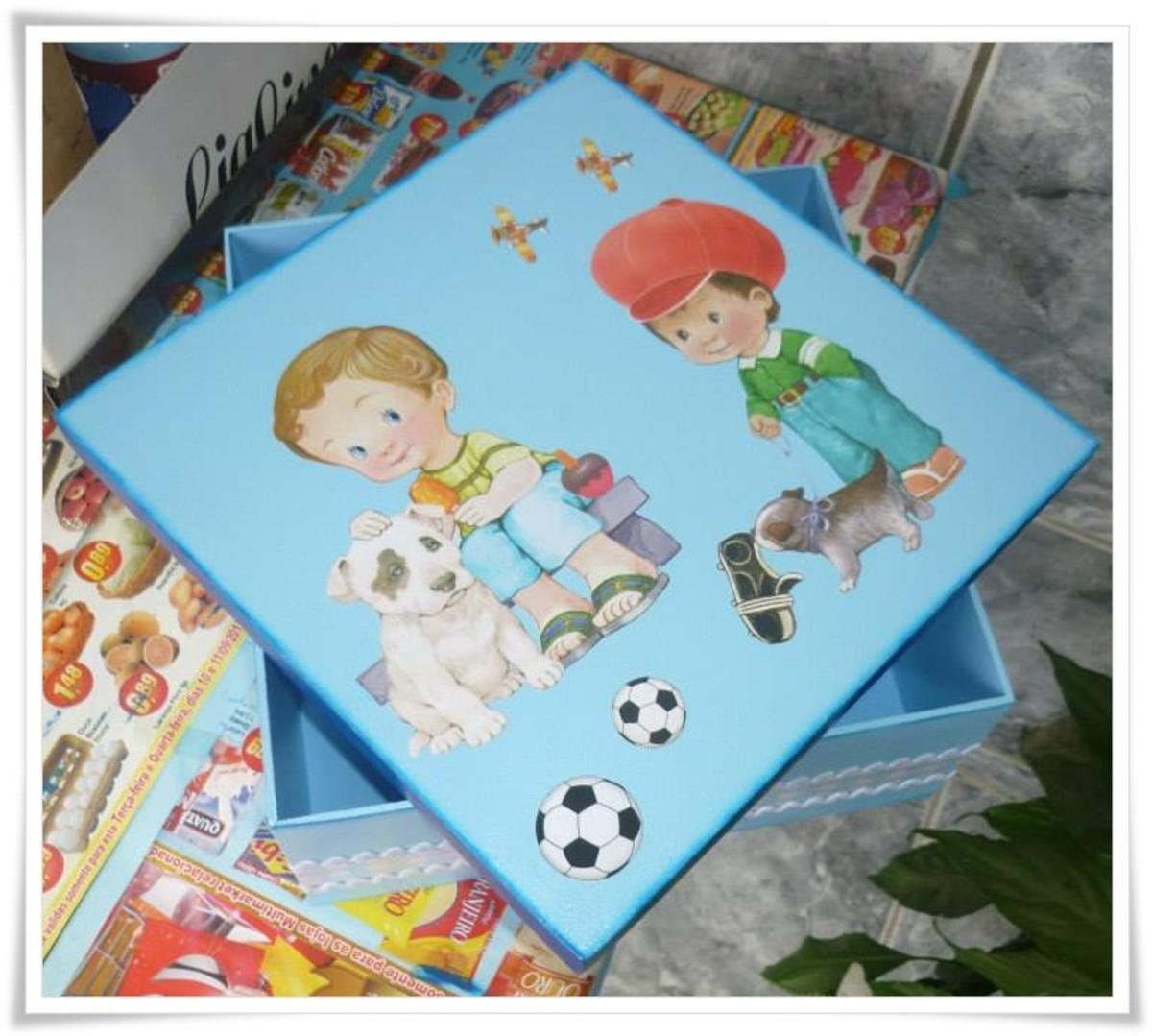 Caixa mdf com papel para decoupage menino no elo7 - Papel decoupage infantil ...