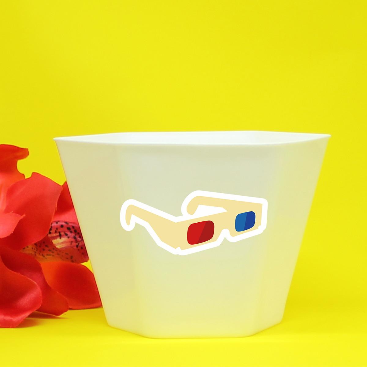 4d928a673de14 Vasinho cachepô com aplique - cinema - Hollywood - óculos 3D no Elo7 ...