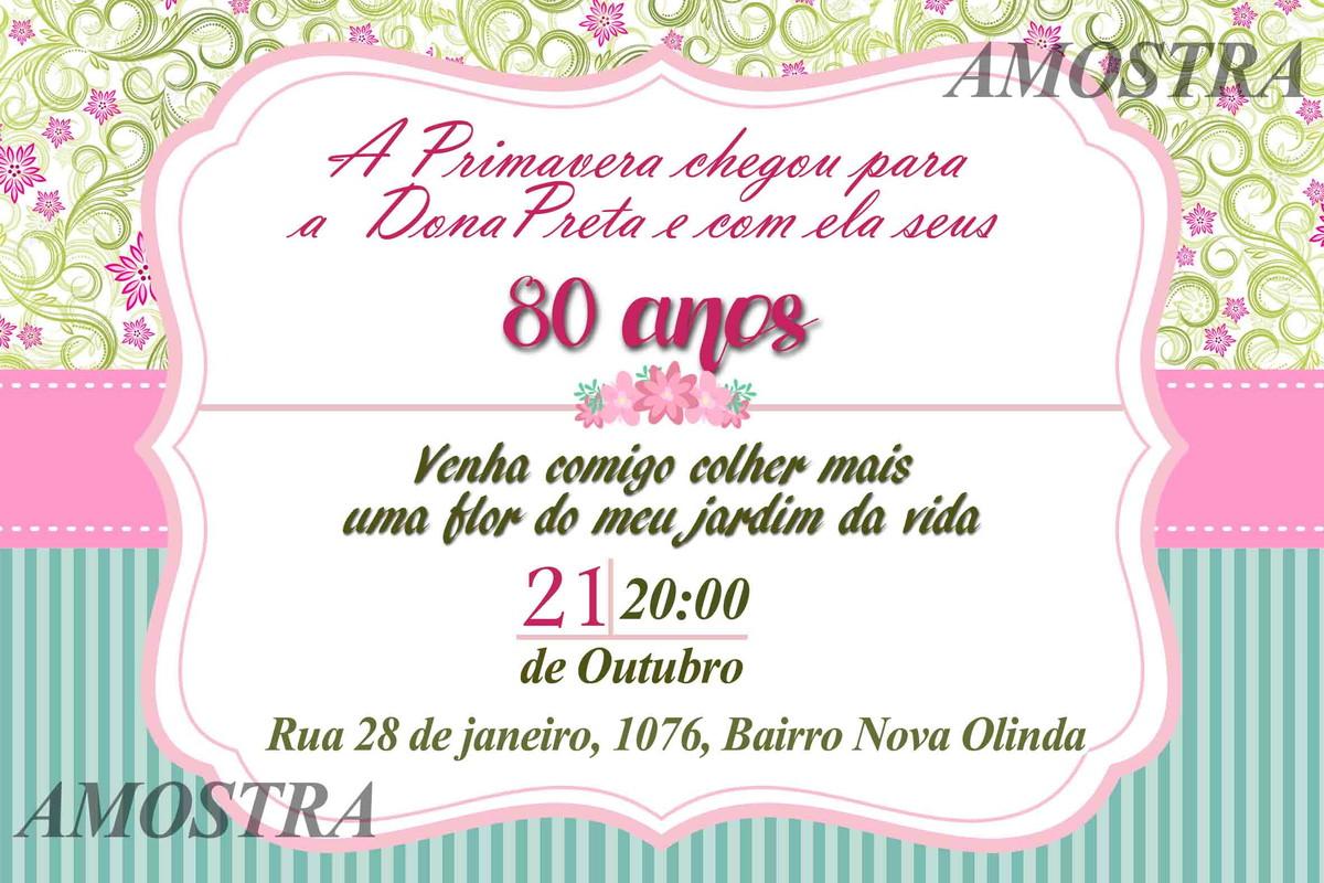 Convites Aniversario De 6 Anos: CONVITE DIGITAL 60 / 50 / 40 ANOS PRIMAVERA No Elo7