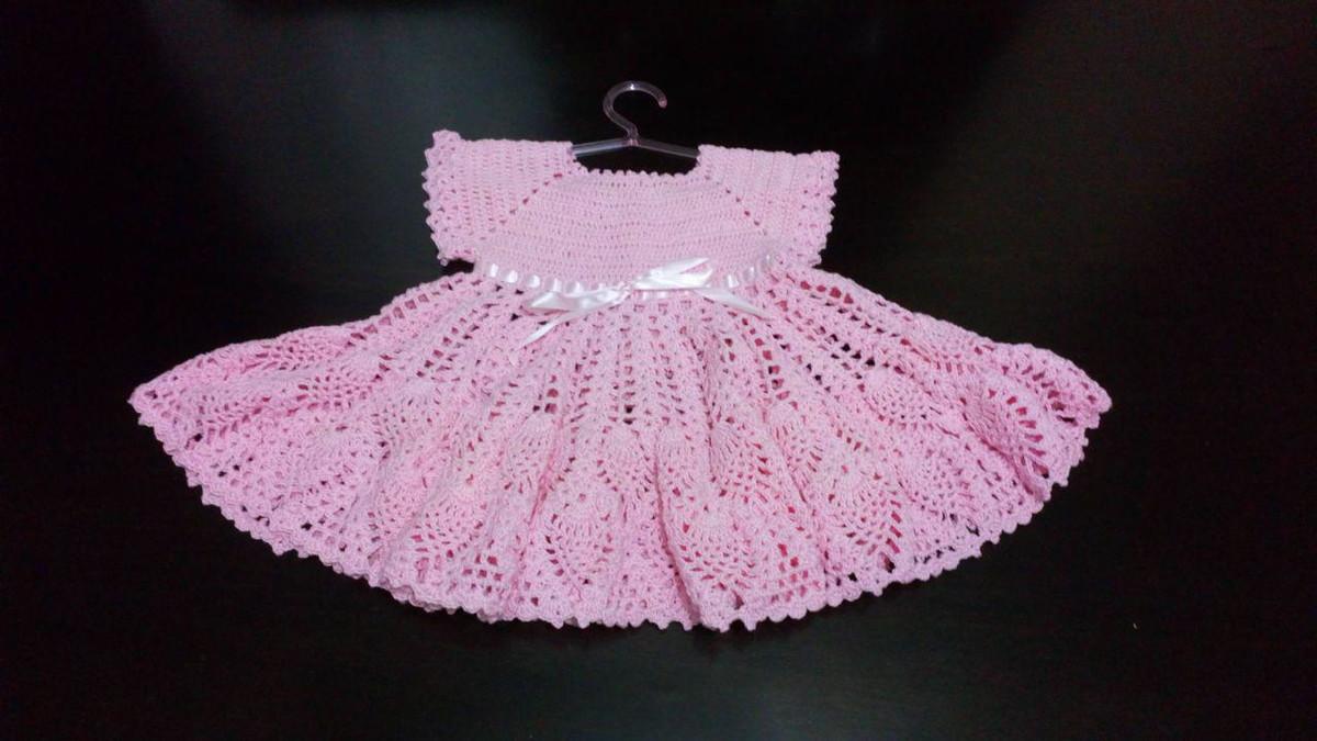 d9ca804555ca Vestido infantil de crochê - rosa claro no Elo7 | Maria de Fátima ...