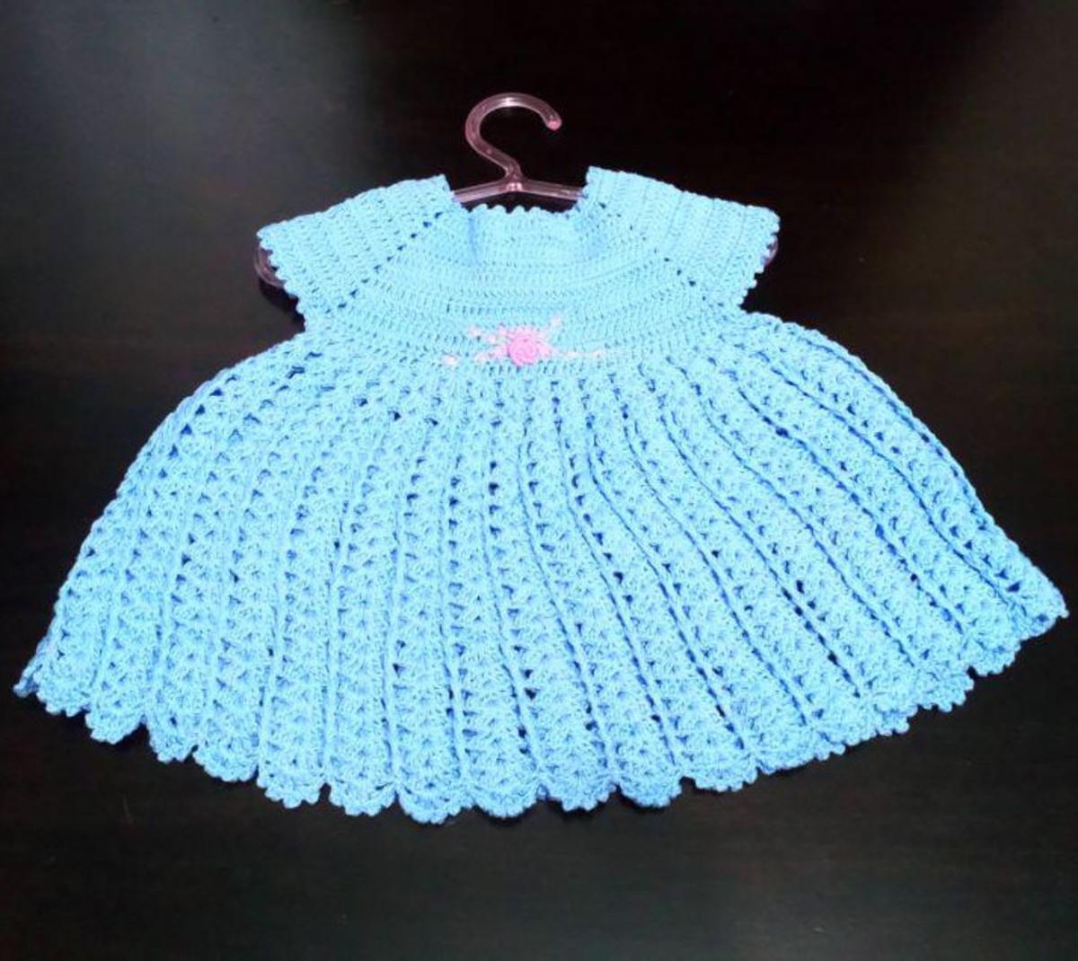 cd8d583b609f Vestido infantil de crochê - azul claro no Elo7 | Maria de Fátima ...