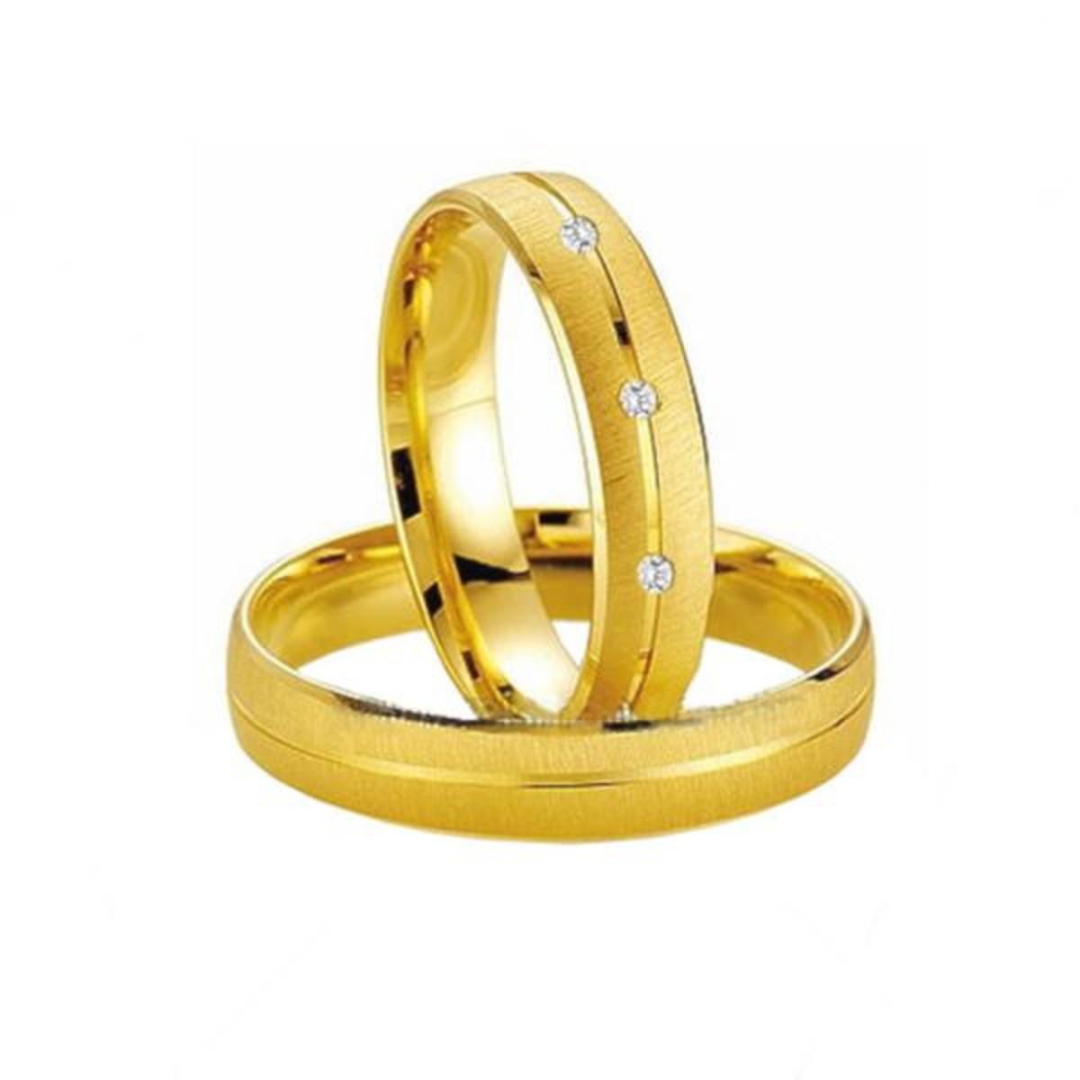 c70e03745fa Zoom · Aliança de Ouro 18k Fosca Friso Transversal Diamantes (Par)