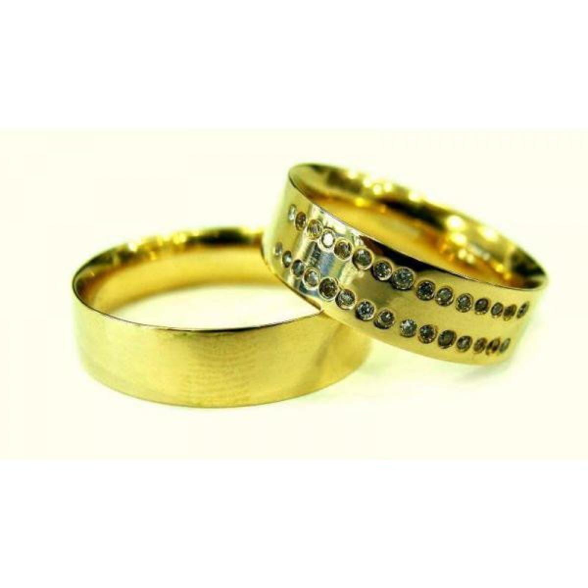 Aliança de Ouro 18k Reto e Diamantes na Feminina - (Par) no Elo7 ... c6fce47752