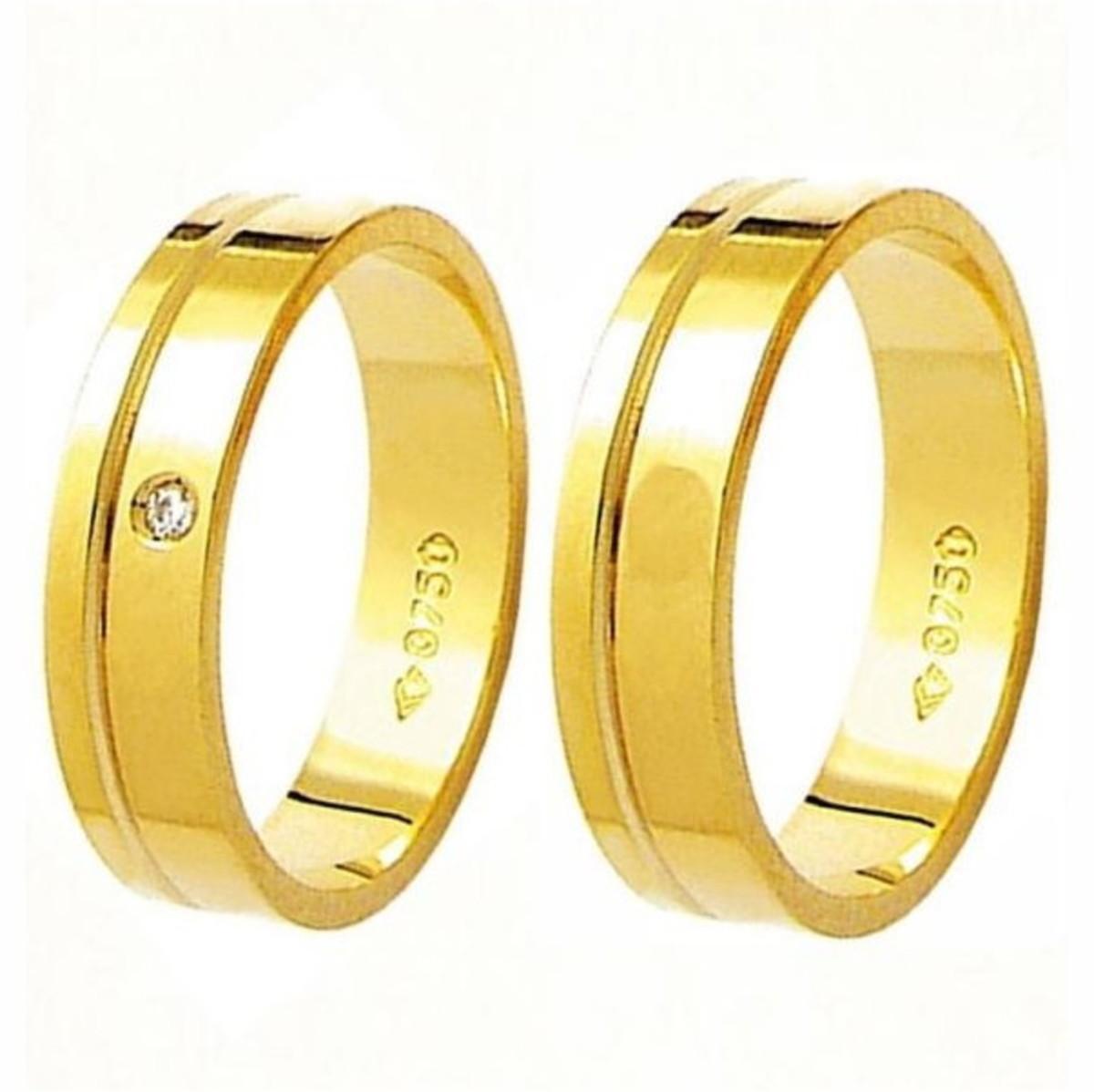 0a562f7575ffd Aliança de Ouro 18k Friso e Diamante na Feminina - (Par) no Elo7 ...