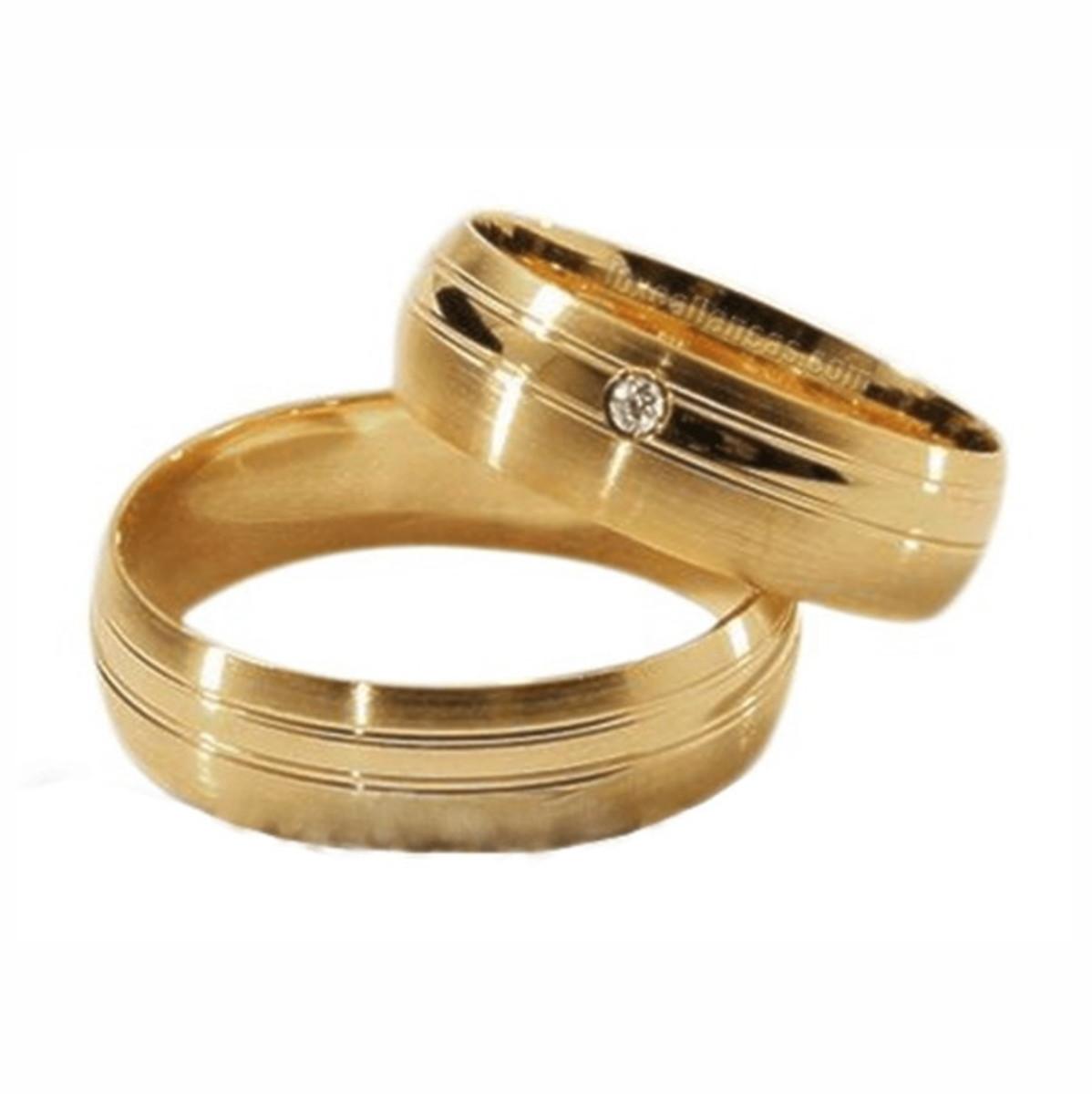Aliança de Ouro 18k Fosca e Lisa com Dois Frisos - (Par) no Elo7 ... f5f49f3f46