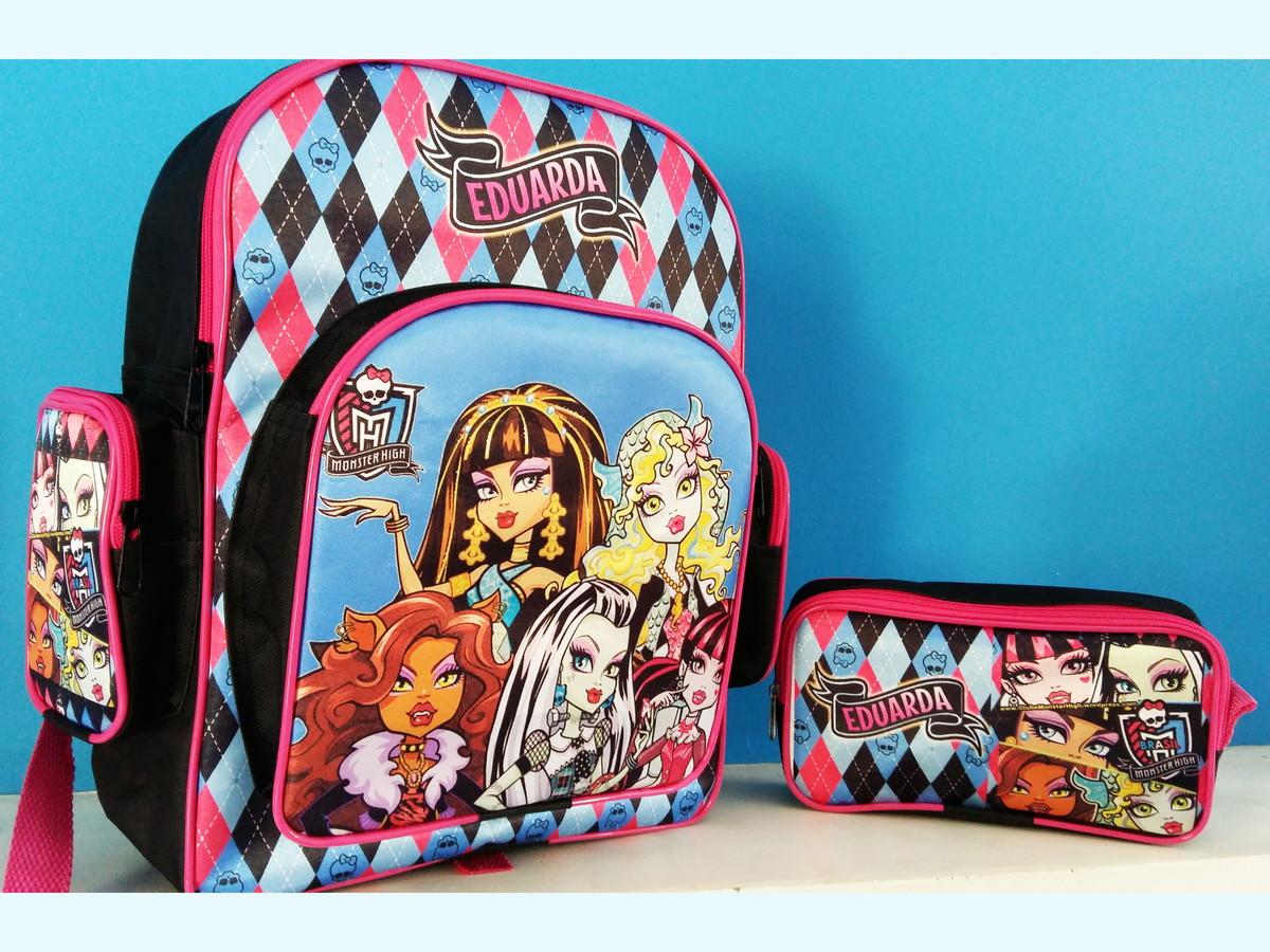 c53d5efca Mochila Escolar Personalizada Monster High Kit Estojo no Elo7 | Fran ...