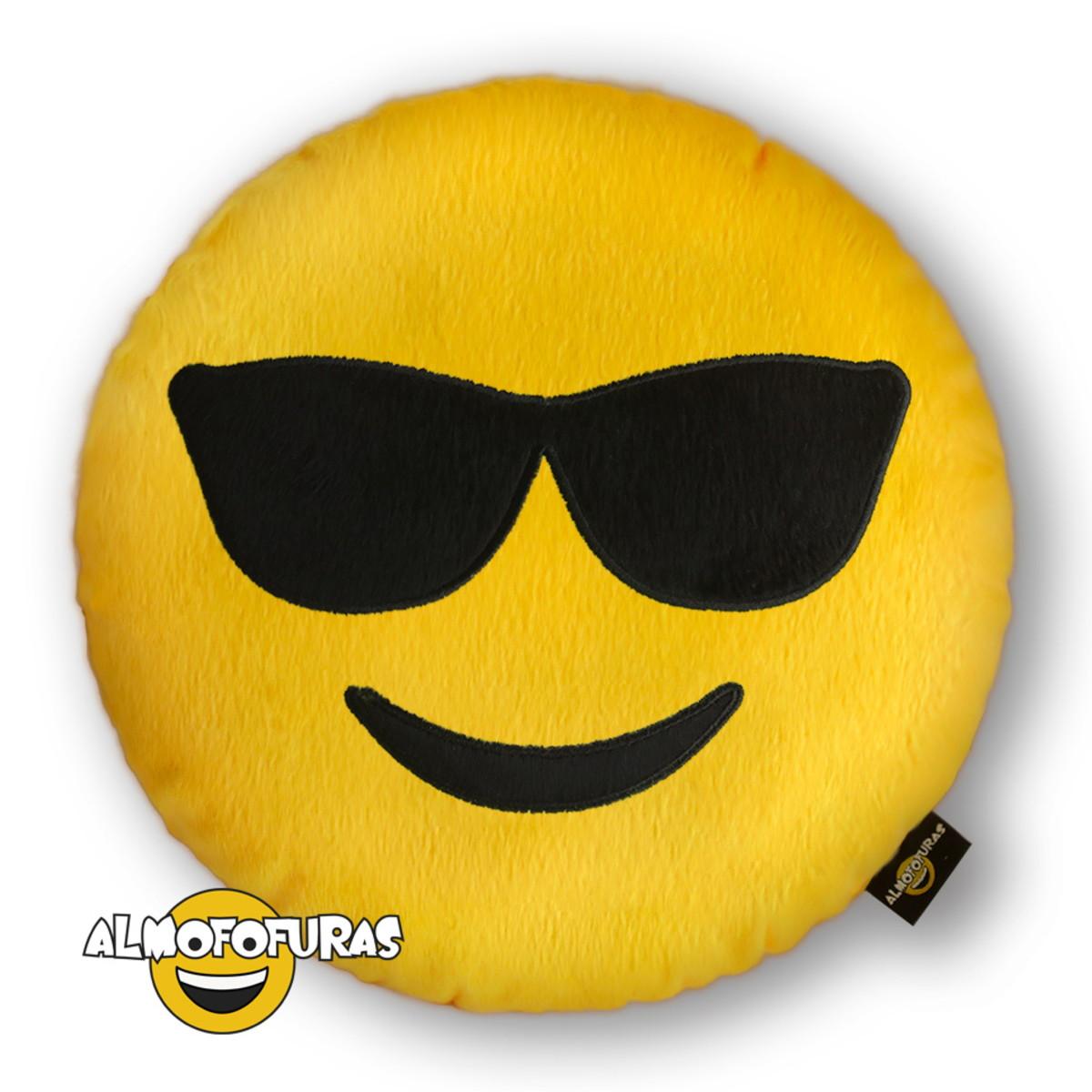 Almofada Emoji Pelúcia Bordada Whatsapp Óculos de Sol no Elo7 ... bbc7c7e3ff