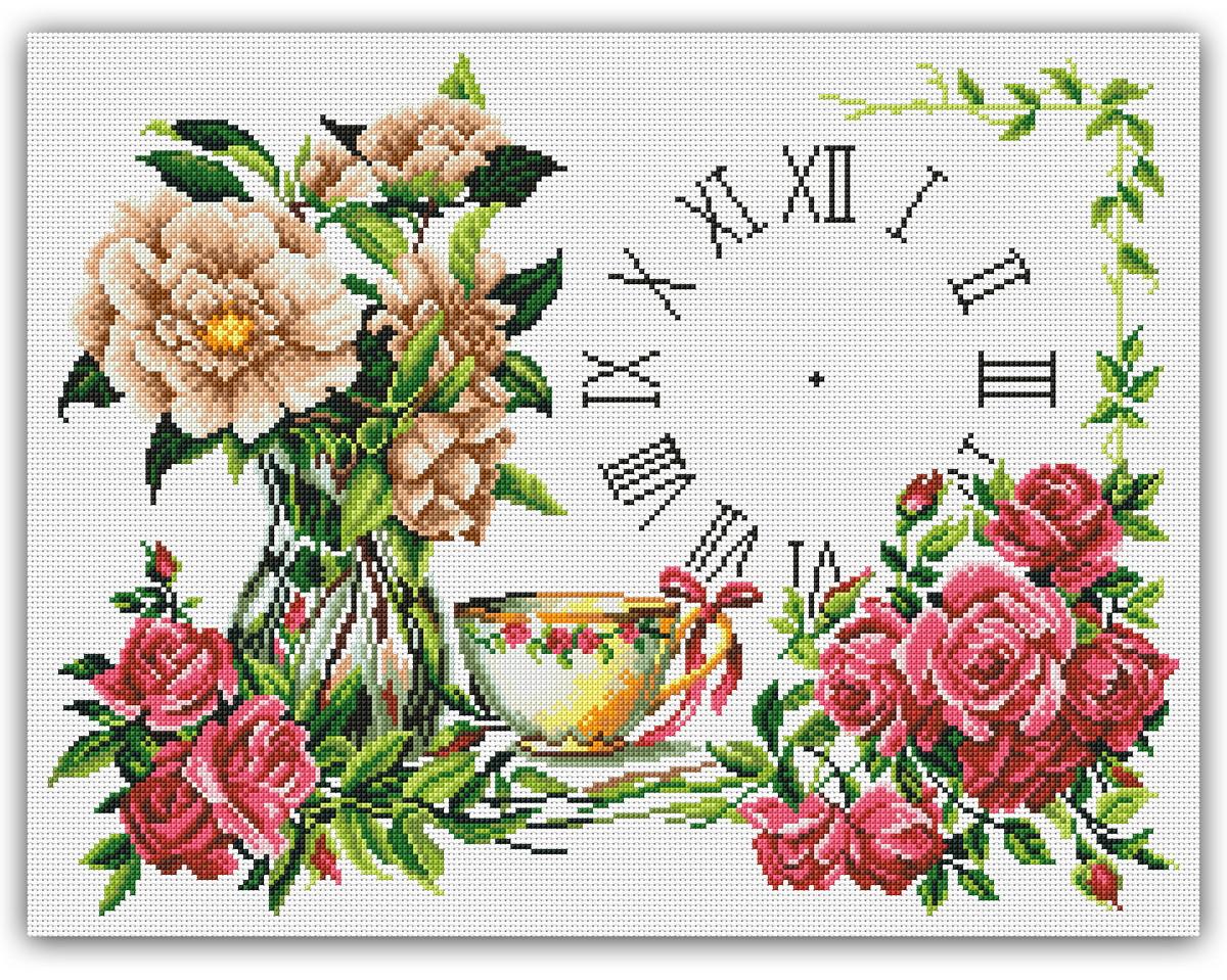 890d8dec5 Relógio Chá e Flores - Gráfico Ponto Cruz no Elo7 | Thimage ...