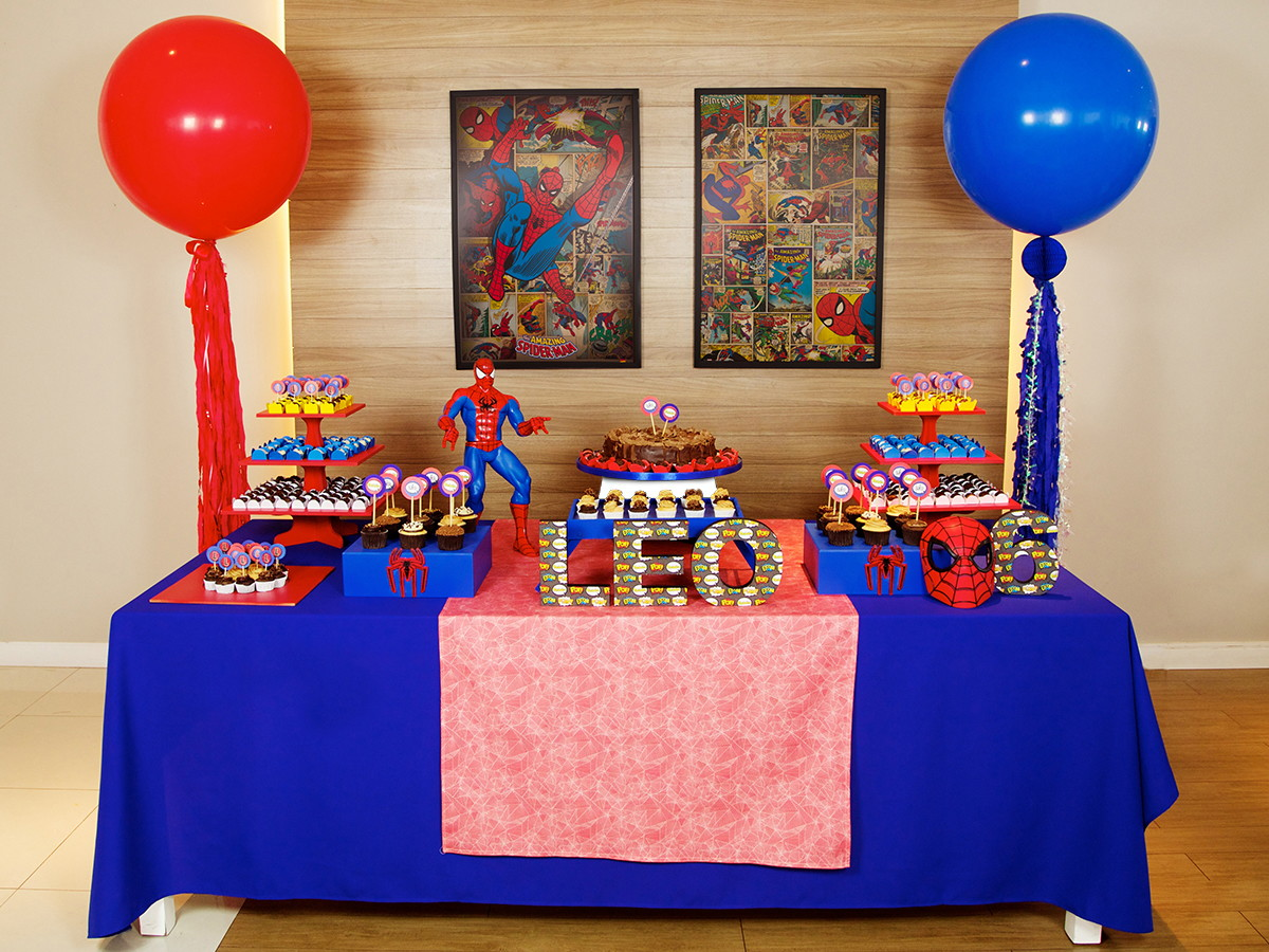 Aluguel Decoraç u00e3o de Festa Homem Aranha no Elo7 Festeirice (BF5940) -> Decoração De Aniversario Simples Para Homens