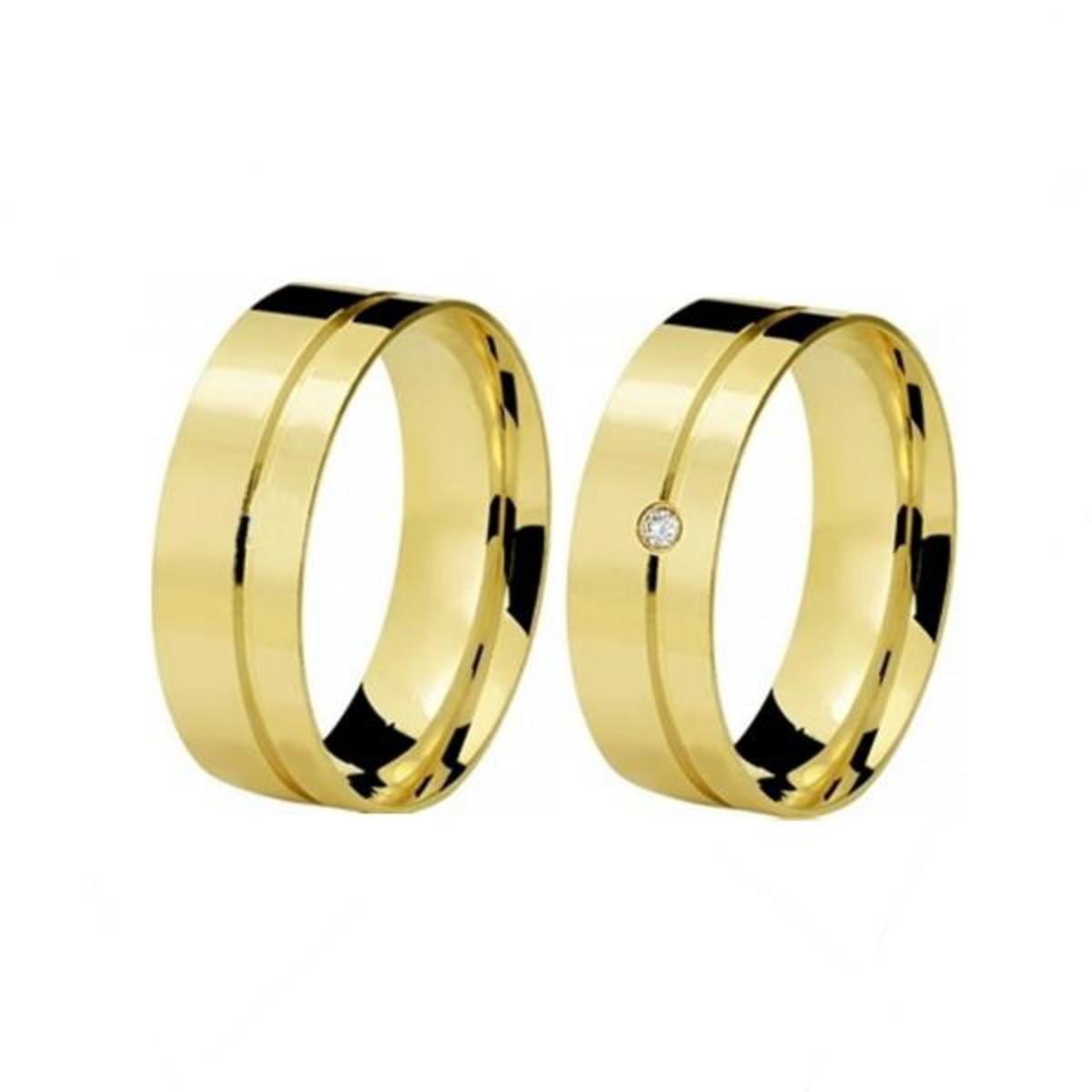 Aliança de Ouro 18k Fosca Filete Polido e Diamante - (Par) no Elo7 ... 1e6afb885f