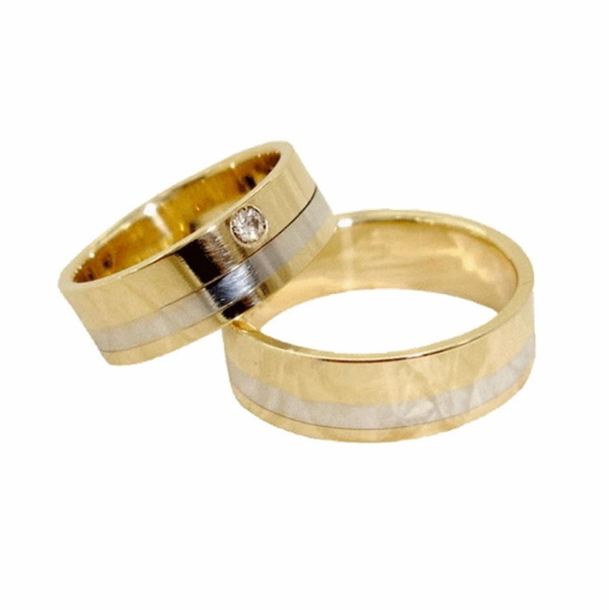 Aliança de Ouro 18k Filete de Ouro Branco e Diamante - (Par) no Elo7 ... 21b4787340